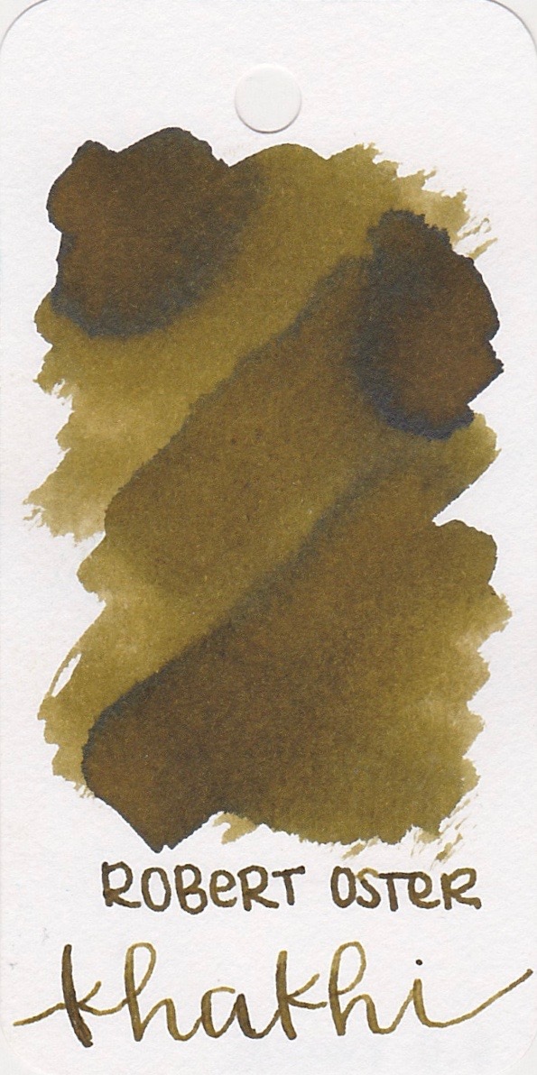 The color... - Khakhi is a medium brown with a green undertone and a tiny bit of black sheen.