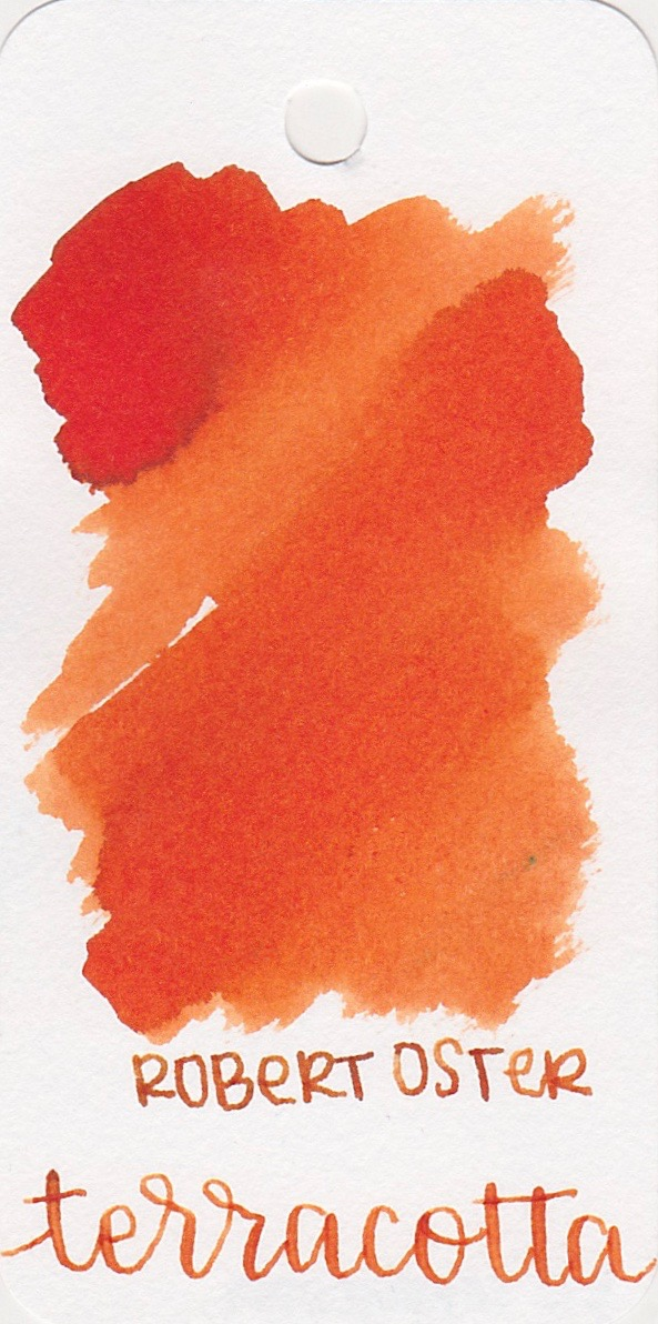 The color... - Terracotta is a medium orange with shading. Seasonally, I would probably use this ink in the spring.
