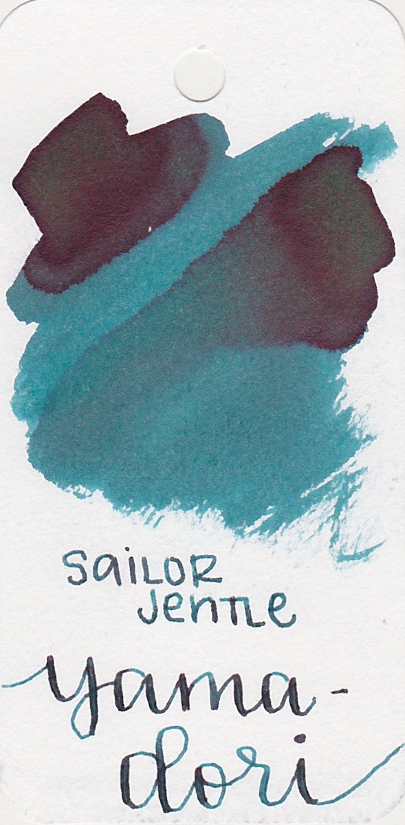 The color... - Yama-dori is a medium teal with a burgundy sheen. Seasonally, I would use this ink in the fall.