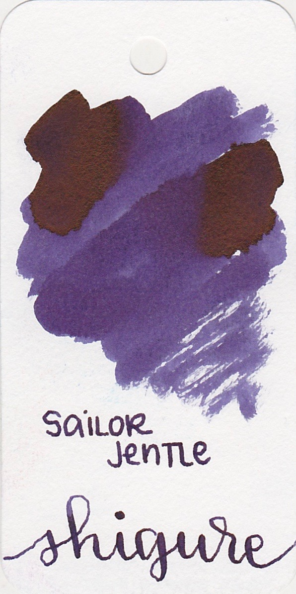 The color... - Shigure is a dark purple with sheen. Seasonally, I would use this ink in the fall.