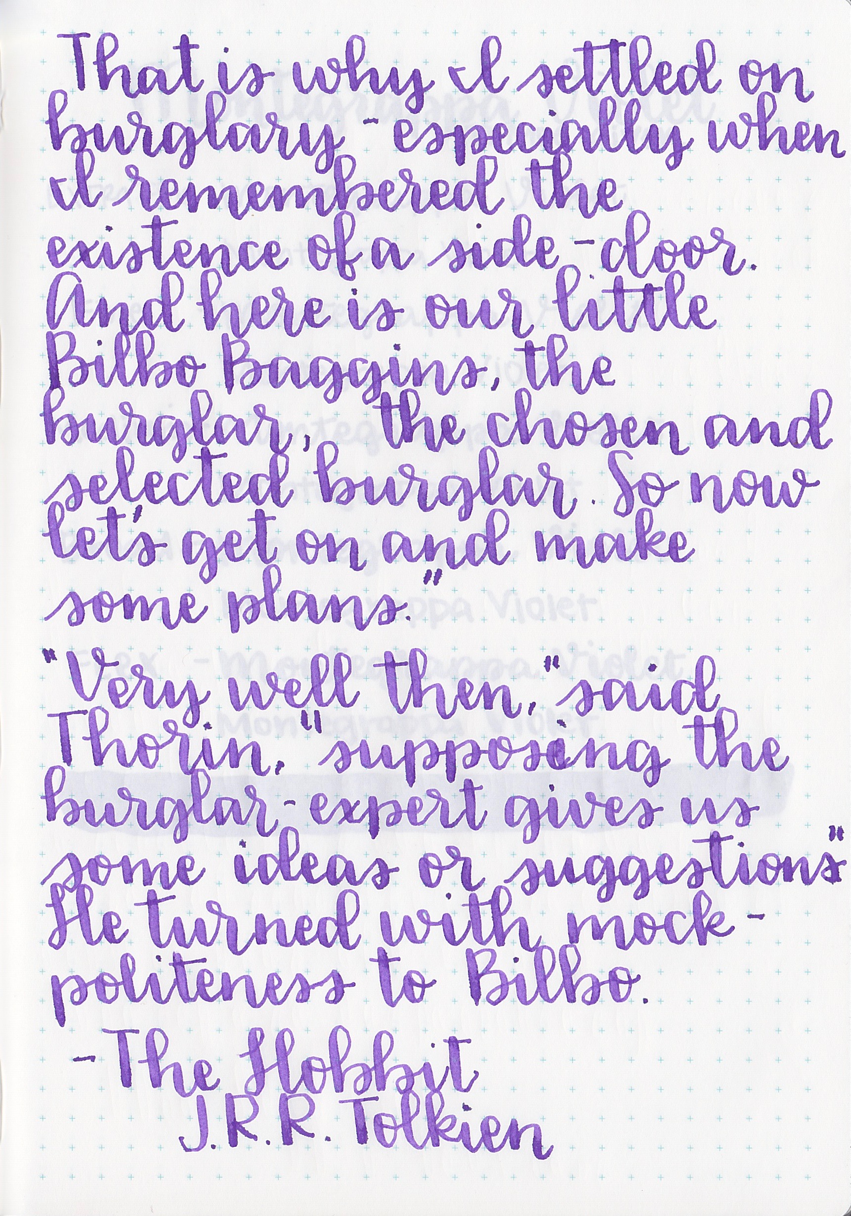 Longer writing: - I used a Pilot 912 FA on Tomoe River paper. The ink felt pretty wet to me.