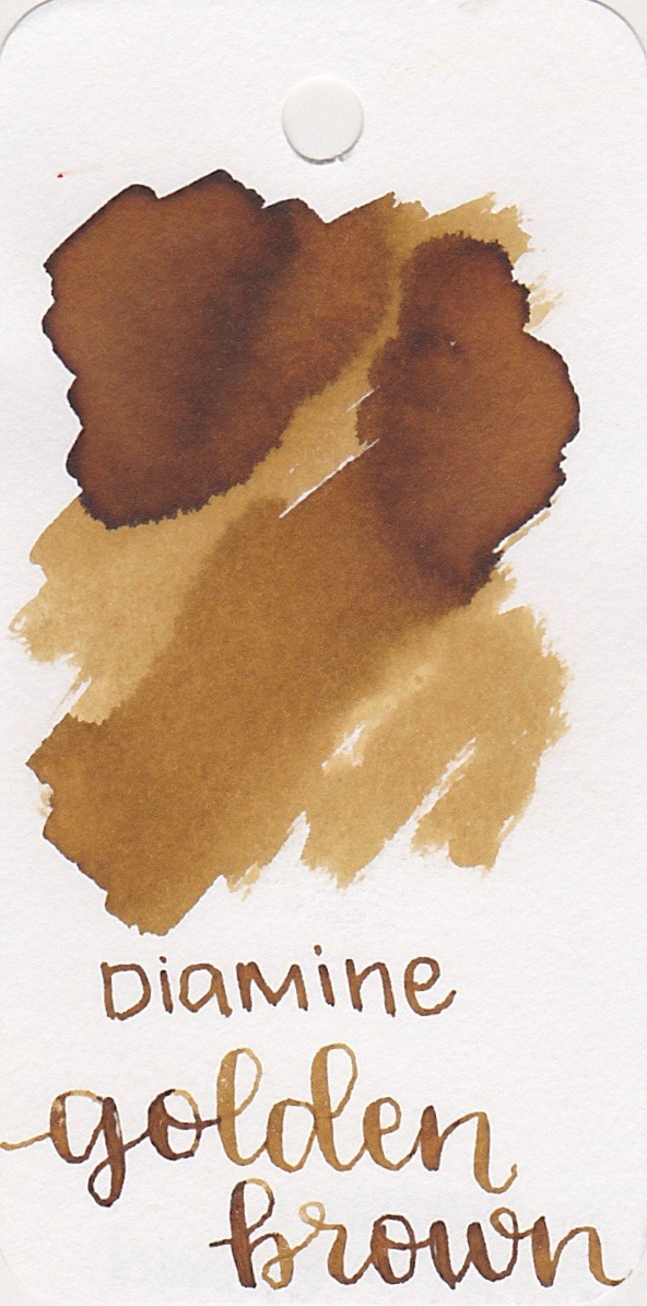 The color... - Golden Brown is a medium-light brown with shading. Seasonally, I think this ink is great for the fall.