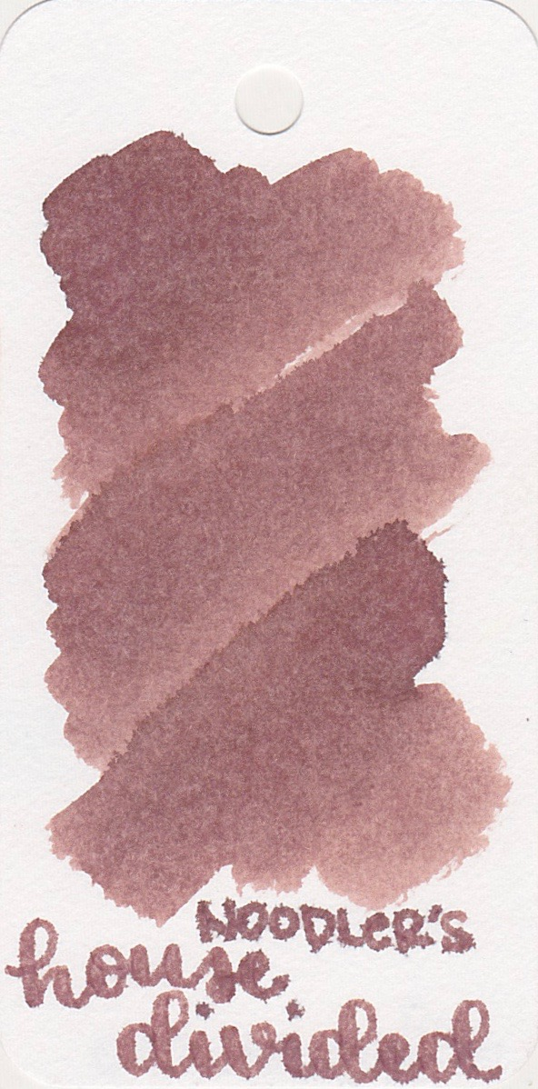 The color... - According to Noodler's, House Divided is supposed to be a plum color, but that's not really what I see. To me it looks like a red-brown.