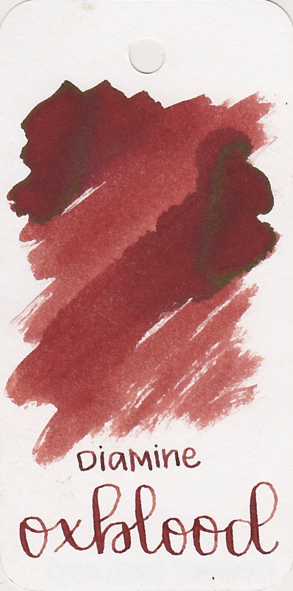 The color... - Oxblood is a dark red with a some green sheen.