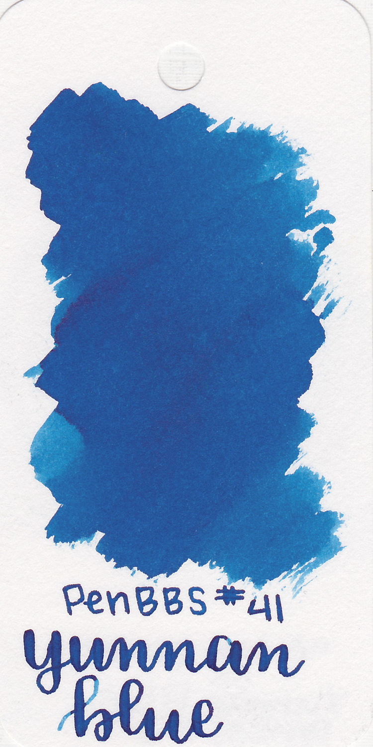 The color... - Yunnan Blue is a medium blue with a little bit of pink sheen.