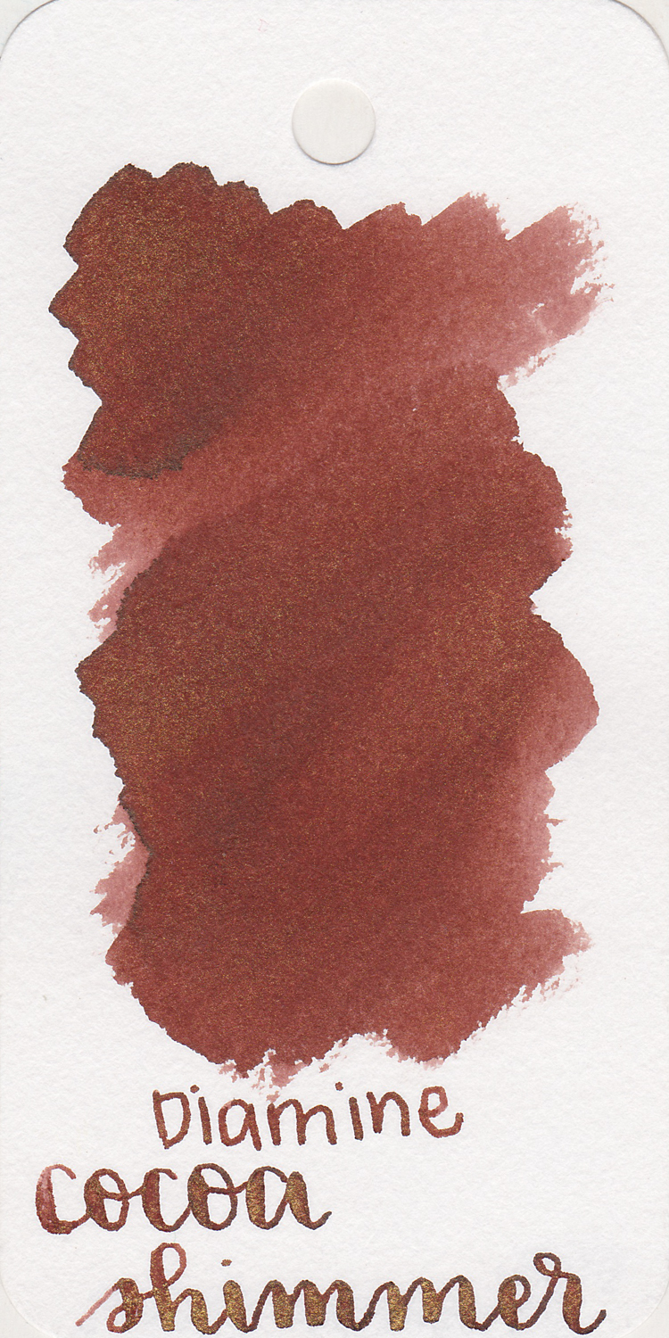 The color: - Cocoa Shimmer is a warm brown with lots of gold shimmer.I think the color is great for fall/Thanksgiving time.