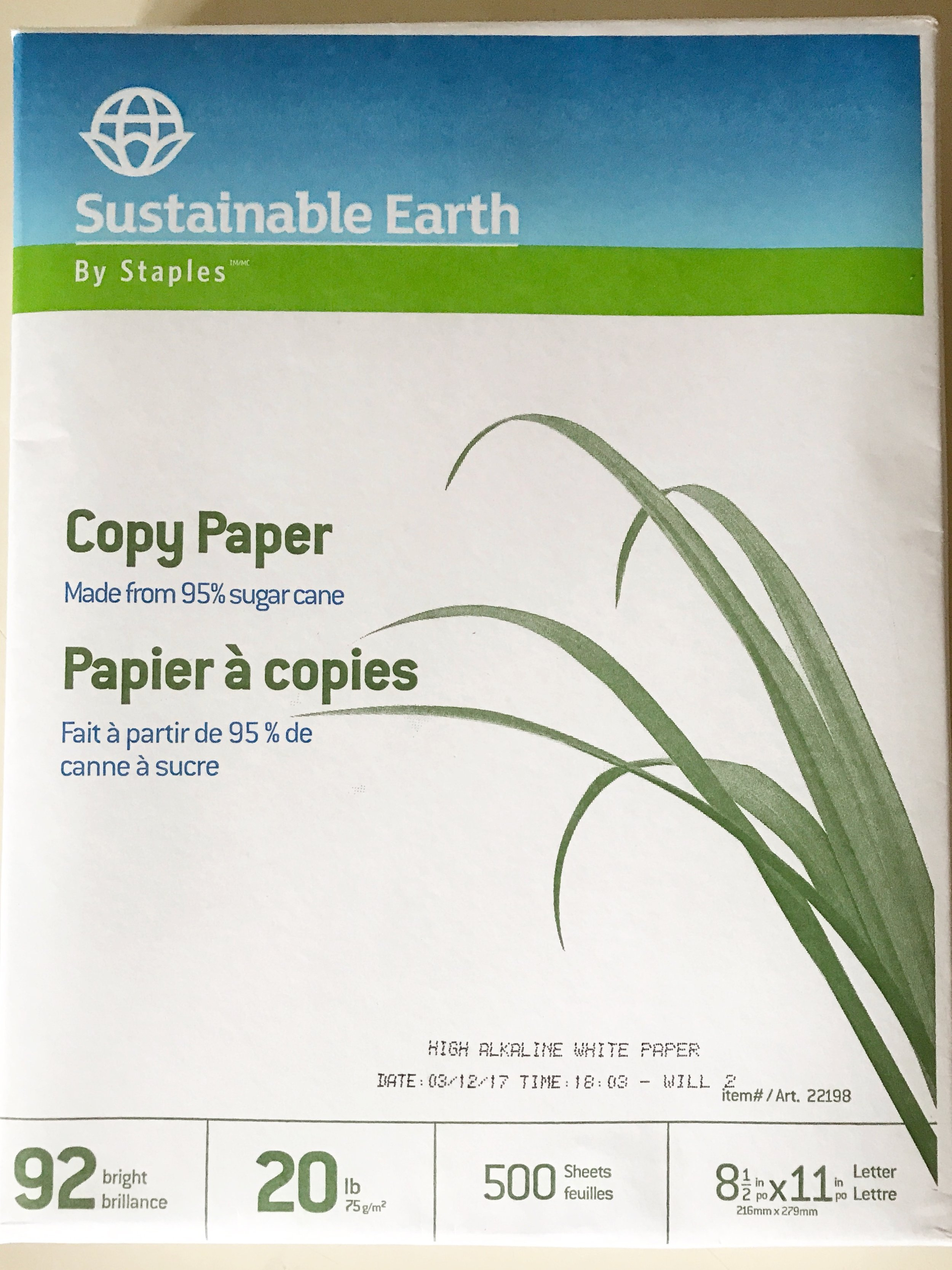 Sustainable Earth: - This paper is made by Staples. You can find the paper here at staples.com.