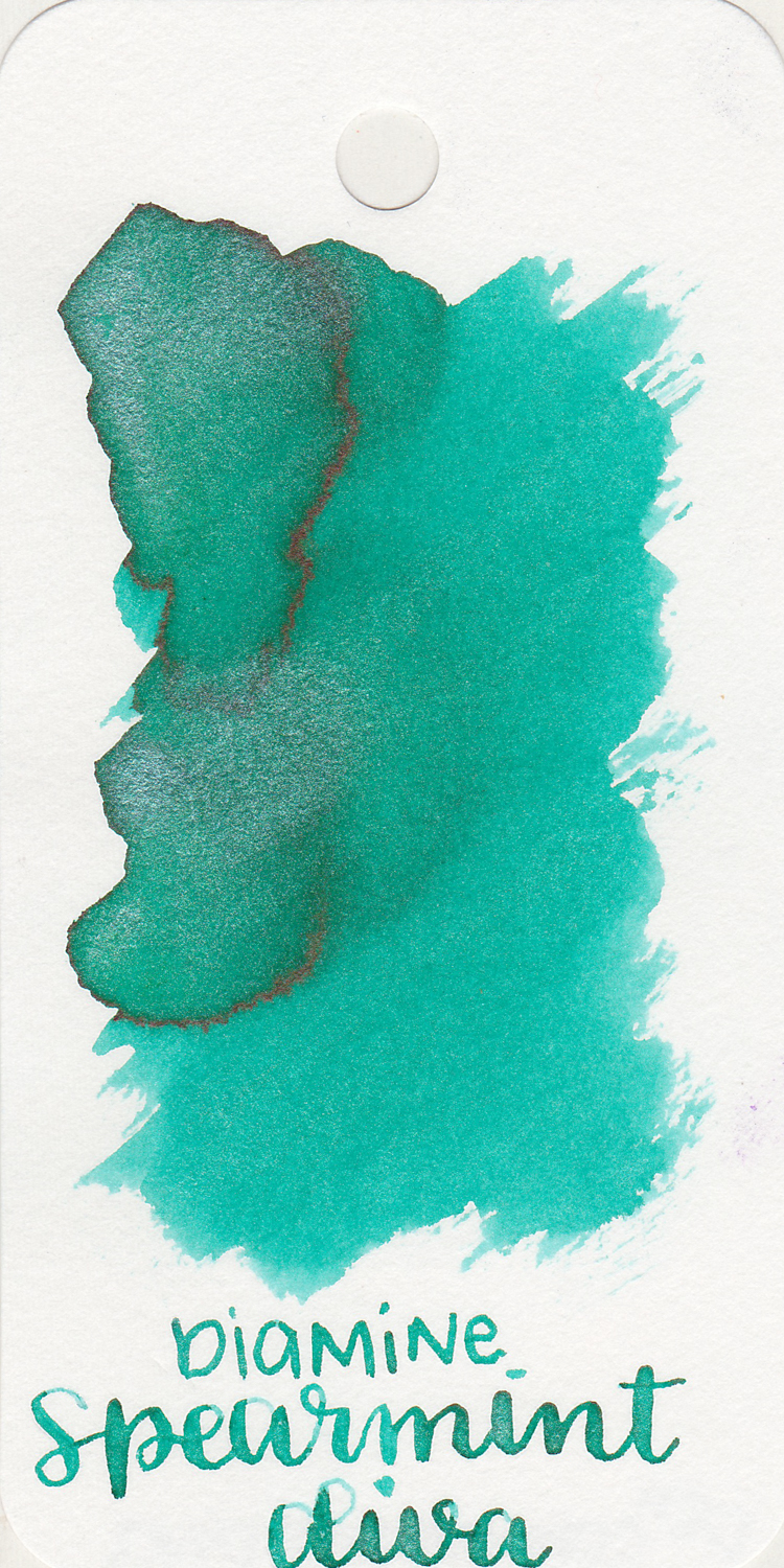The color: - Spearmint Diva is a light teal (blue-green) with some shading and silver shimmer. I would probably use this ink the most in the spring.