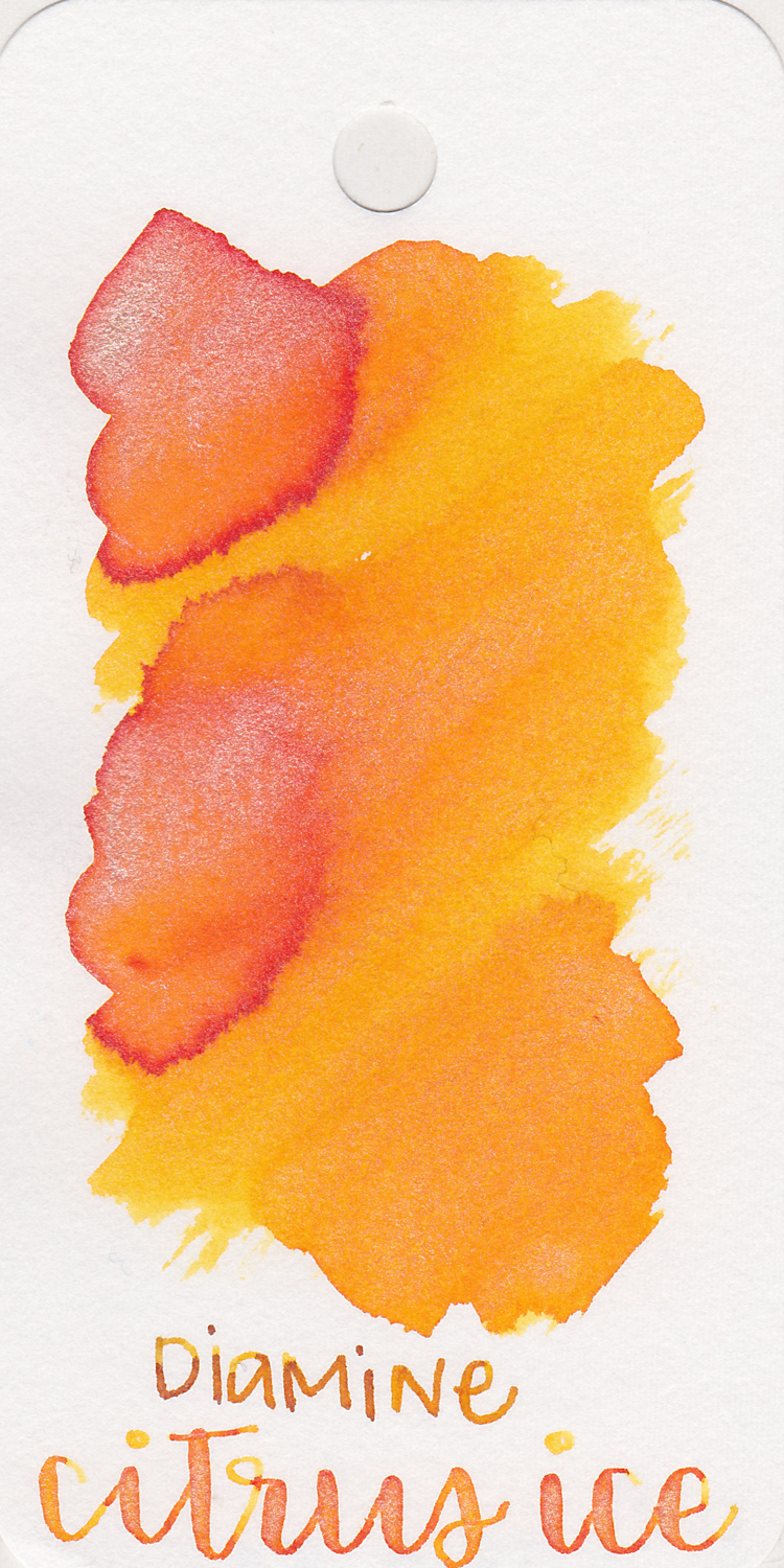 The color: - Citrus Ice is a bright yellow-orange with silver shimmer.
