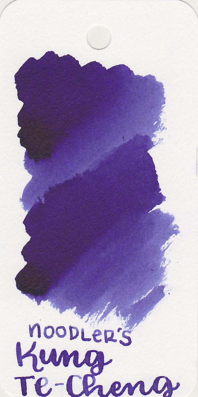 The color: - Kung Te-Cheng is a deep purple. In some lighting it looks more blue and sometimes more purple. I think it leans more toward purple in most circumstances.