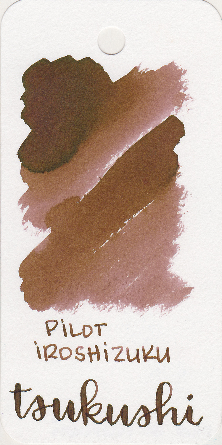 The color: - This ink is very paper dependent-it looks a little bit different on each paper. On most it is a medium brown.
