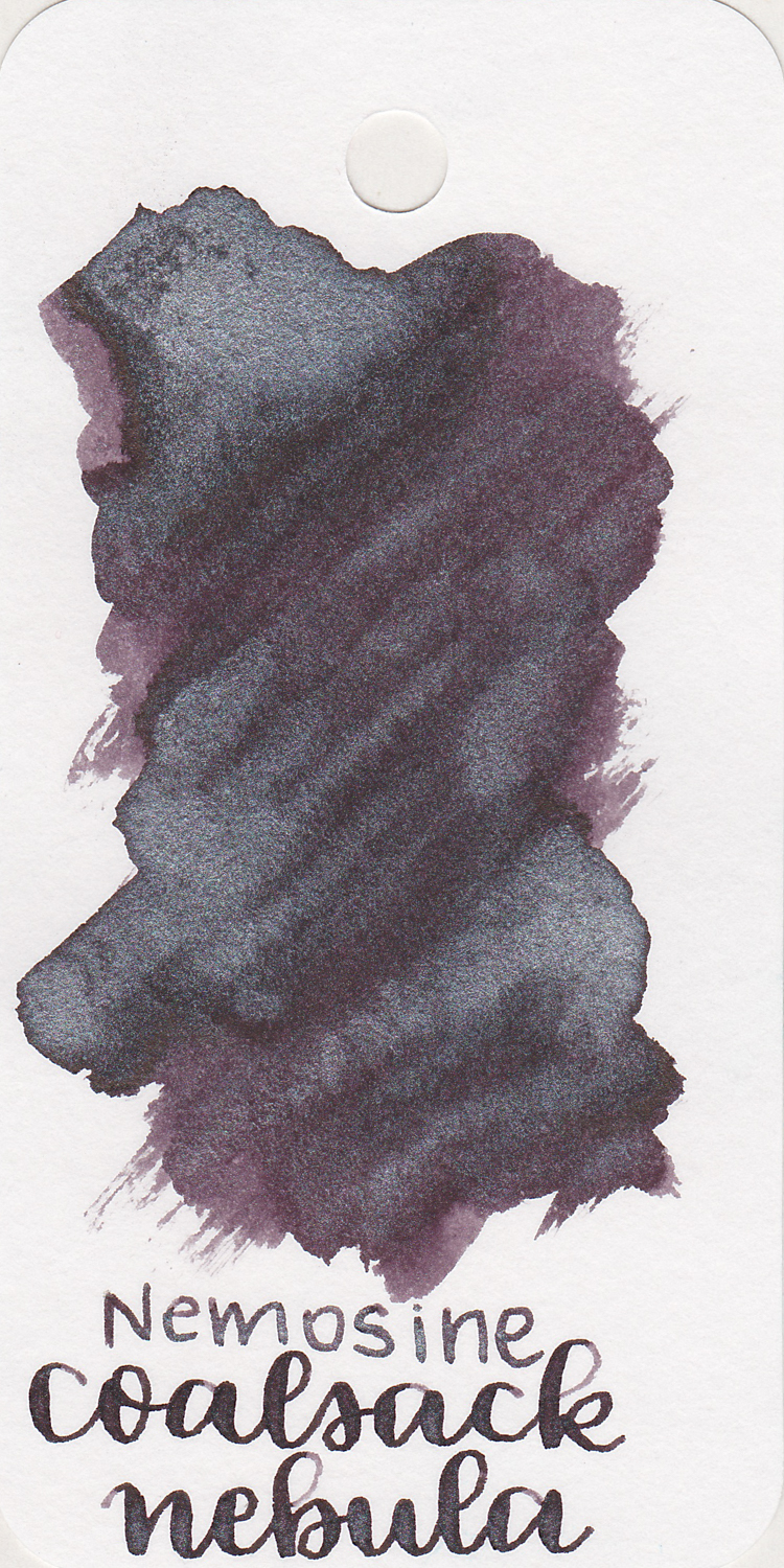 The color: - Coalsack Nebula Twinkle is a black ink with silver shimmer. It does lean a little bit toward purple.