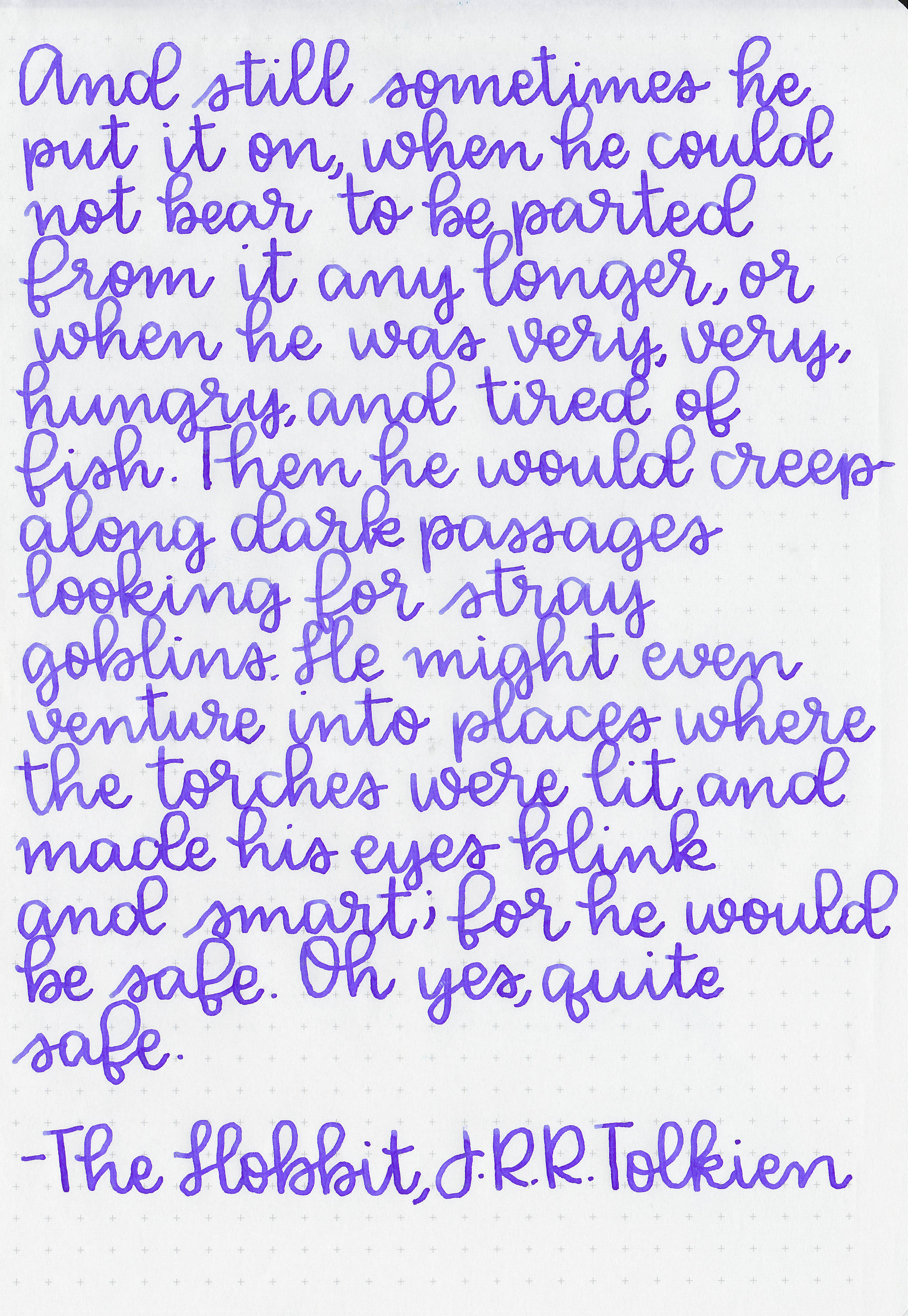Longer writing: - I used a broad Pelikan M805 Ocean Swirl on Tomoe River paper. The ink had an average flow.