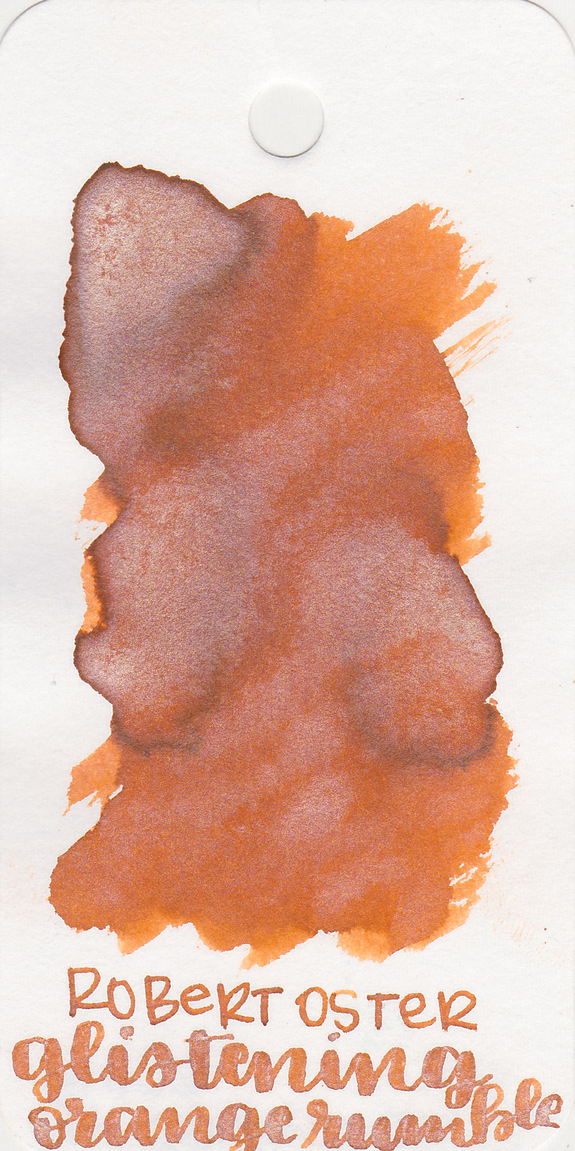 The color: - Glistening Orange Rumble is a medium orange with lots of silver shimmer.