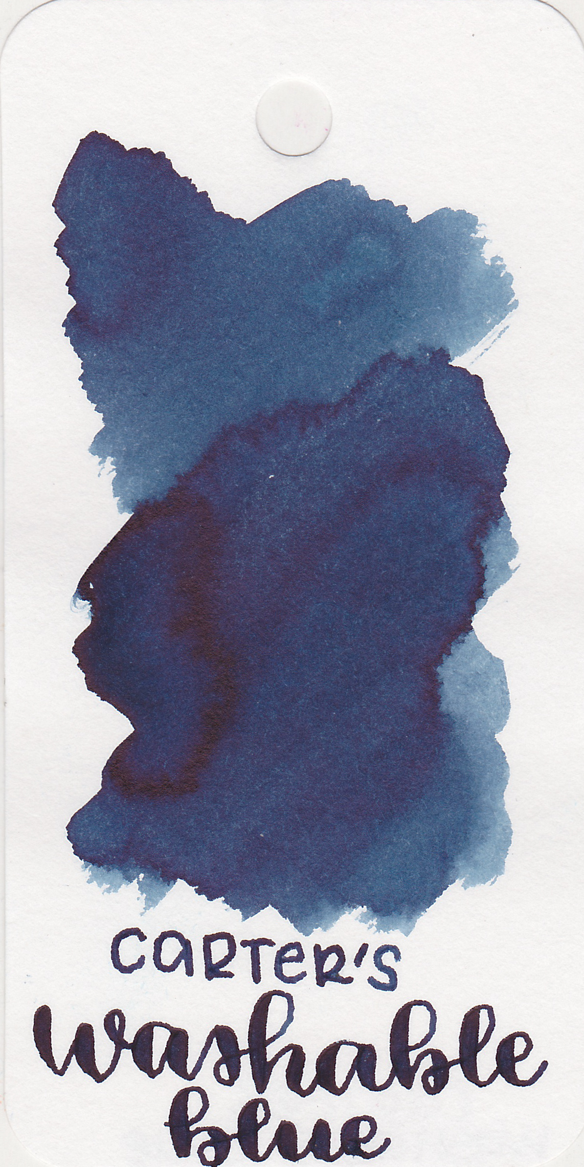 The color: - Washable Blue is a dark blue, almost a blue-black.