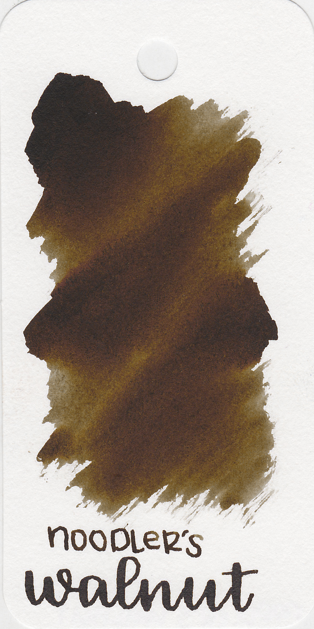 The color: - Walnut is a dark brown. In larger swabs it shows a greater of color than it does in writing.