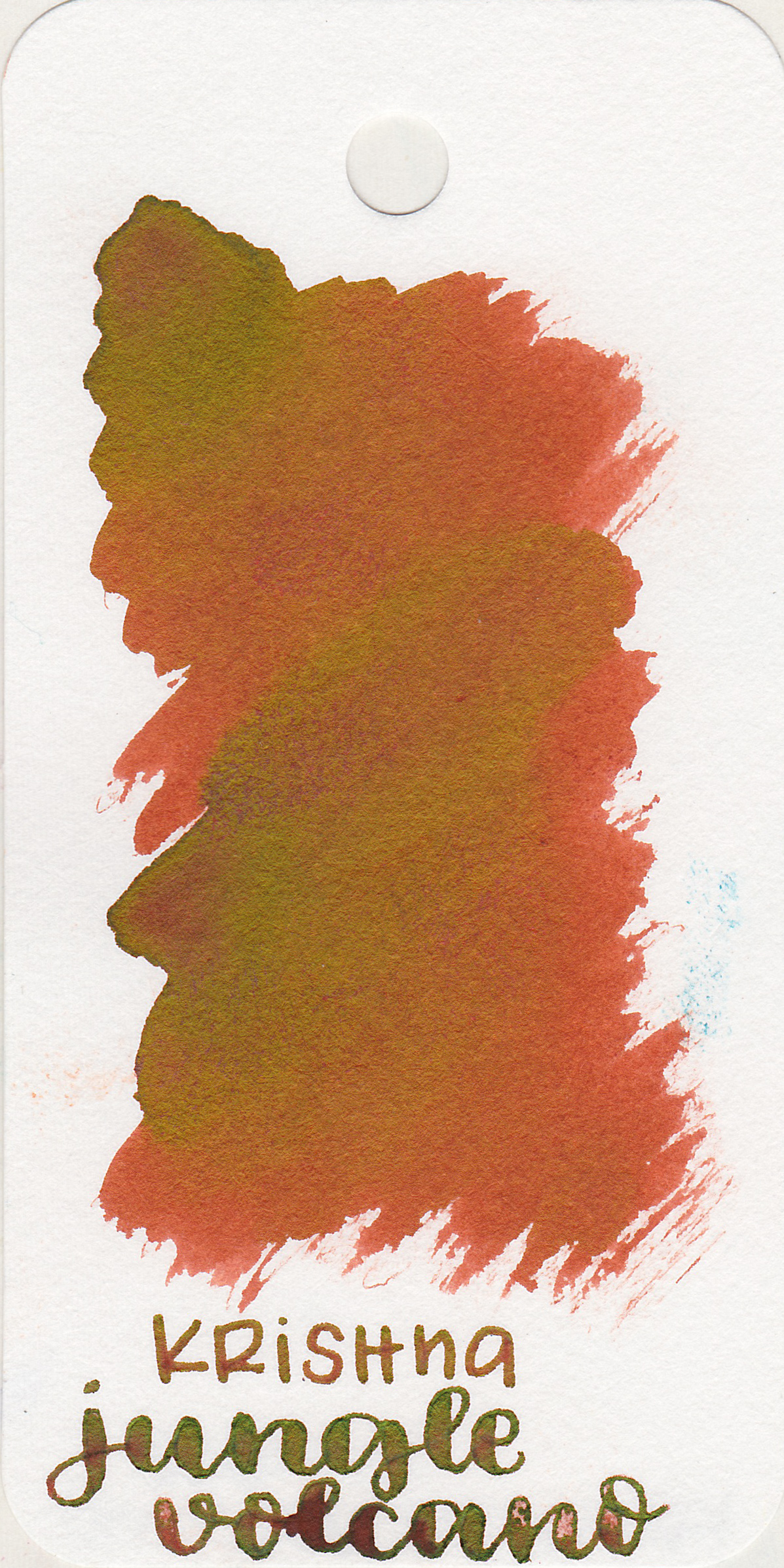 The color: - Jungle Volcano is a dark orange with bright green sheen.