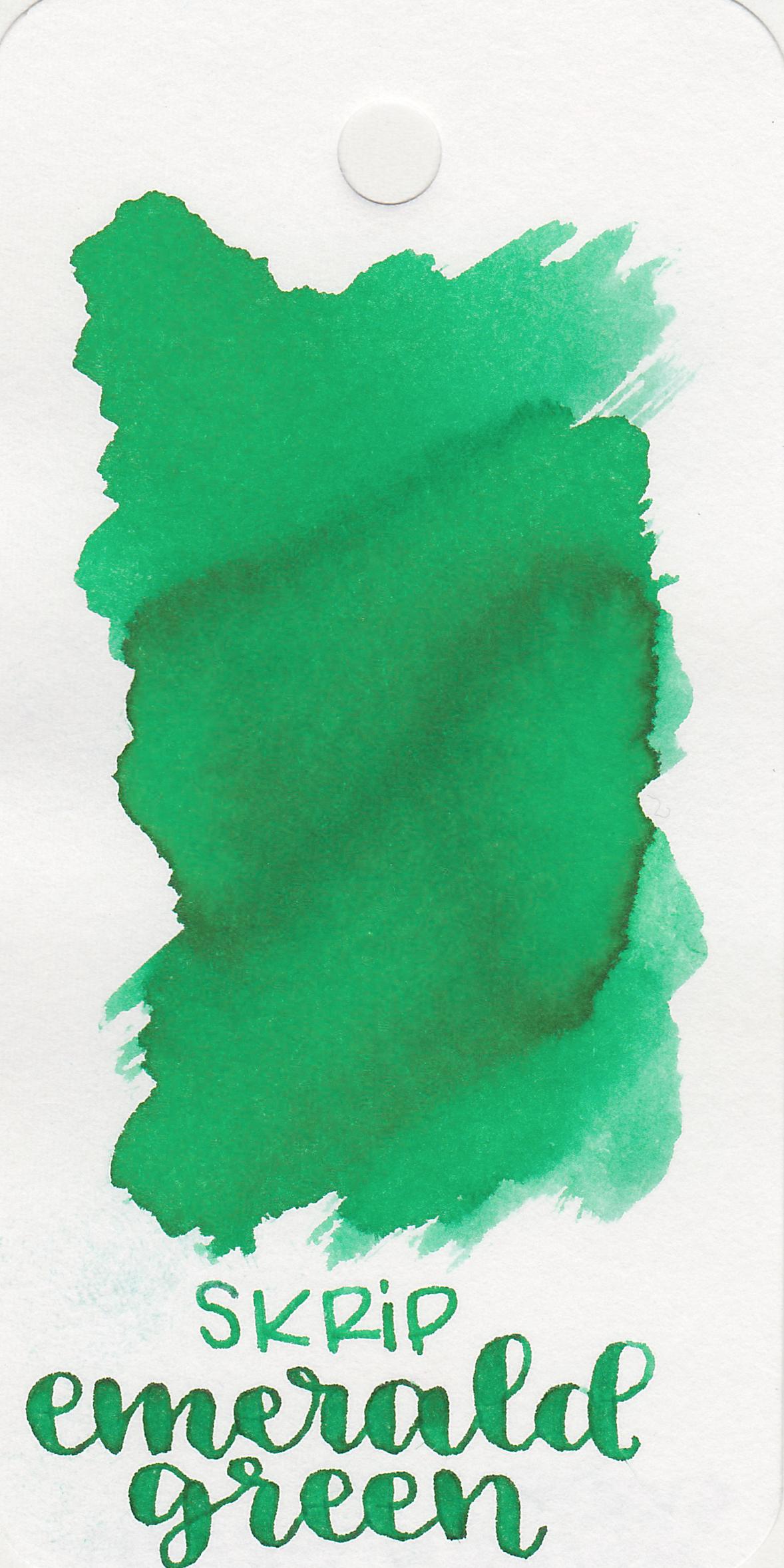 The color: - Emerald Green is a medium bright green.