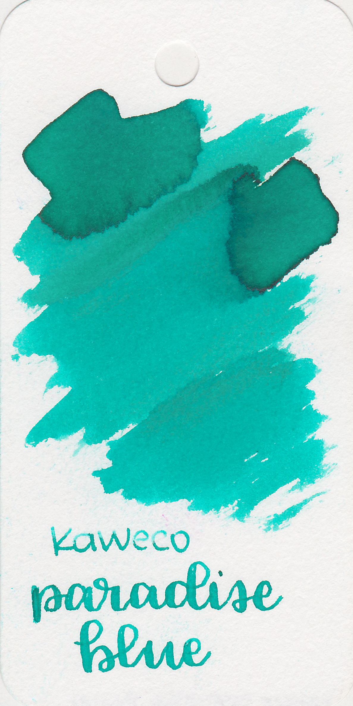 The color: - Paradise Blue is a light teal. It looks much greener in the swab on the Col-o-ring than it does on other papers.