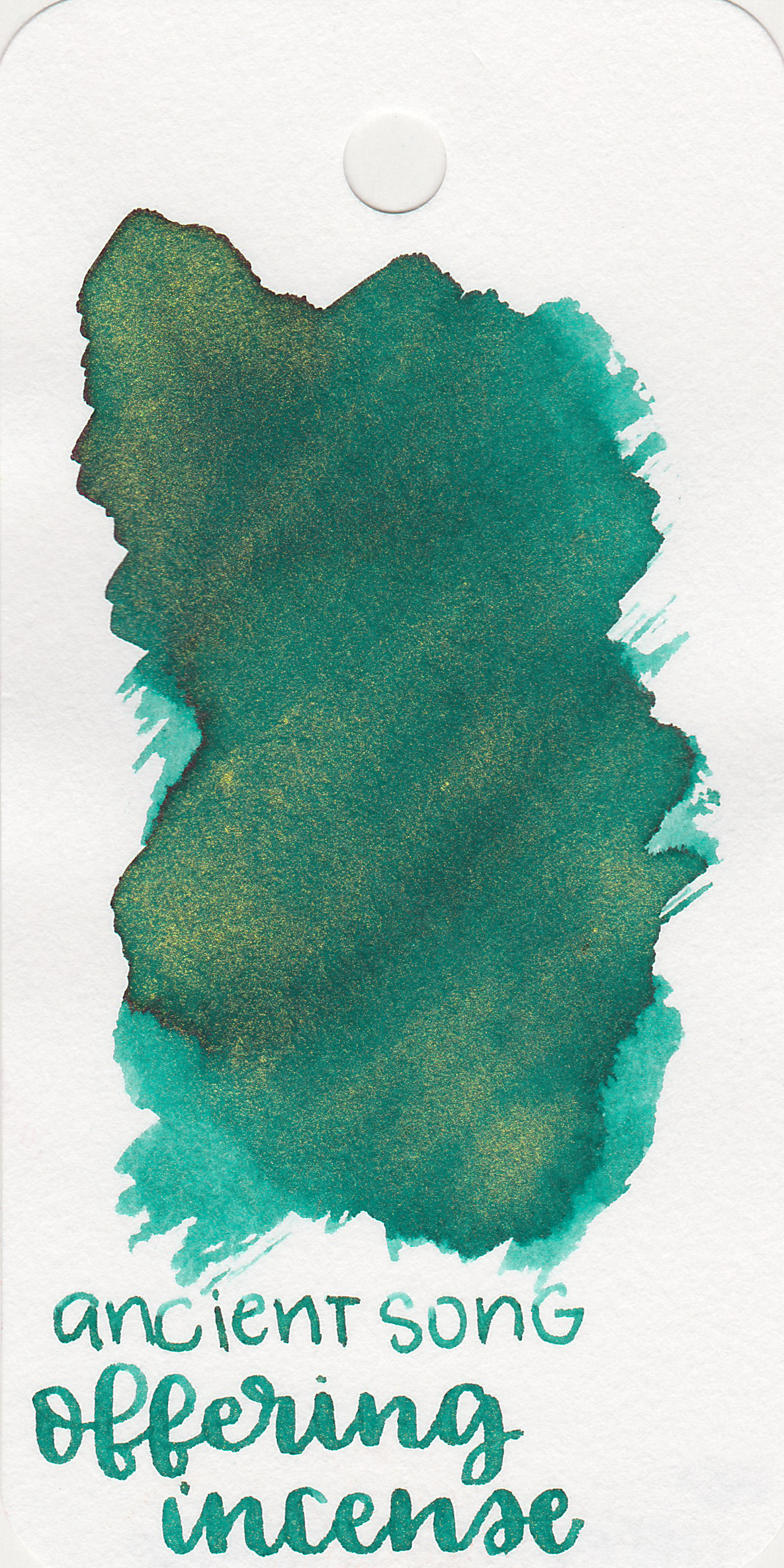 The color: - Offering Incense is in-between blue and green, so let's call it a light teal. On the Col-o-ring it looks a bit more green than it does in writing.