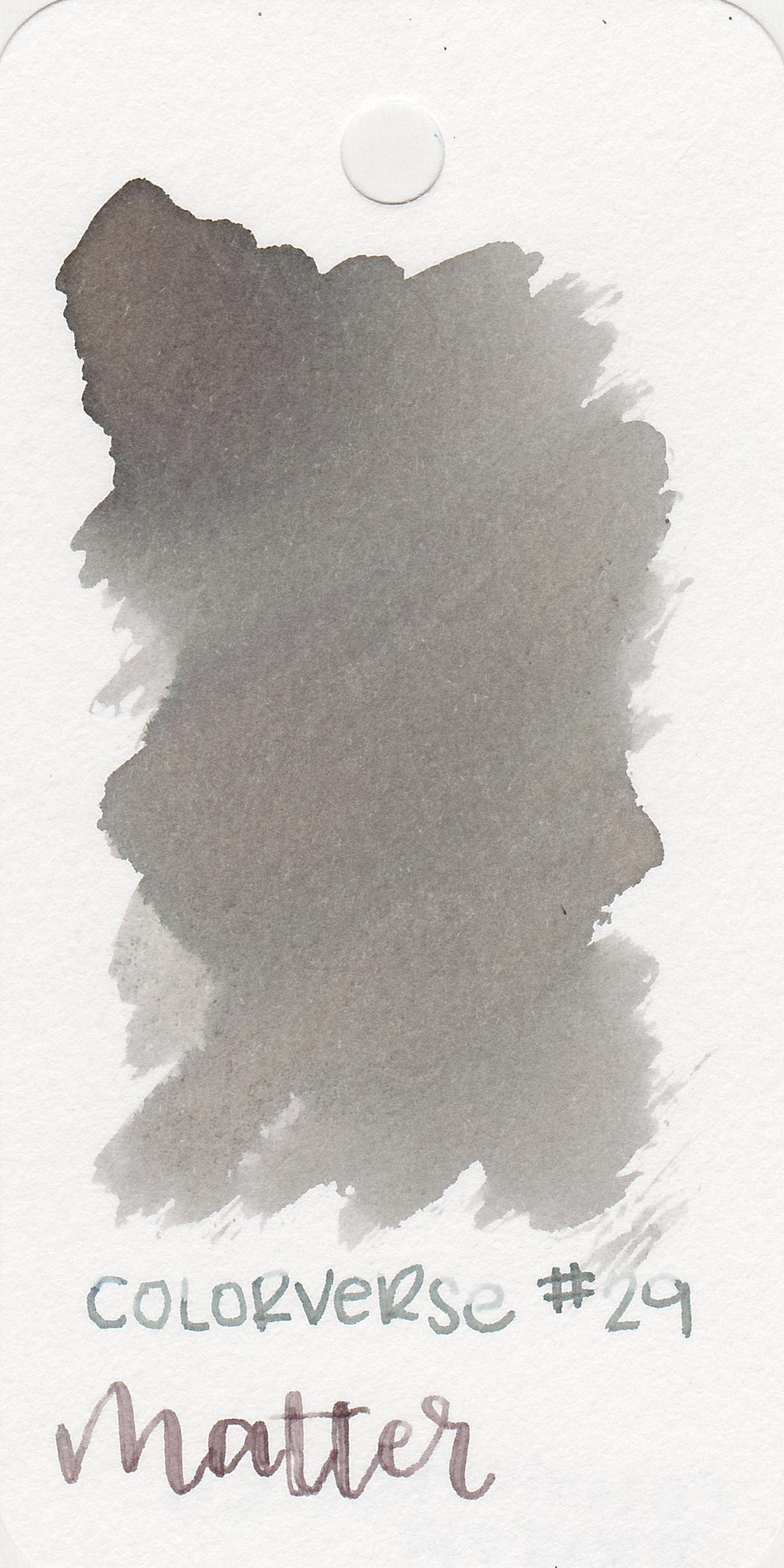 The color: - Matter looks different in every nib size, even on the same paper. In the large swab it looks a neutral grey, in a medium nib it looks a bit more green, and in the flex nib it looks a bit more brown. It also looks different on each paper. It's the chameleon of grey inks.