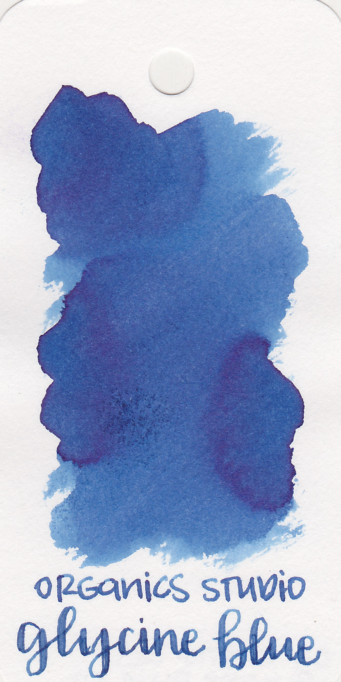 The color: - Glycine Blue is a medium blue. This swab only showed a tiny bit of silver shimmer. There is one spot on the swab where the ink actually damaged the paper causing it to pill a little bit.