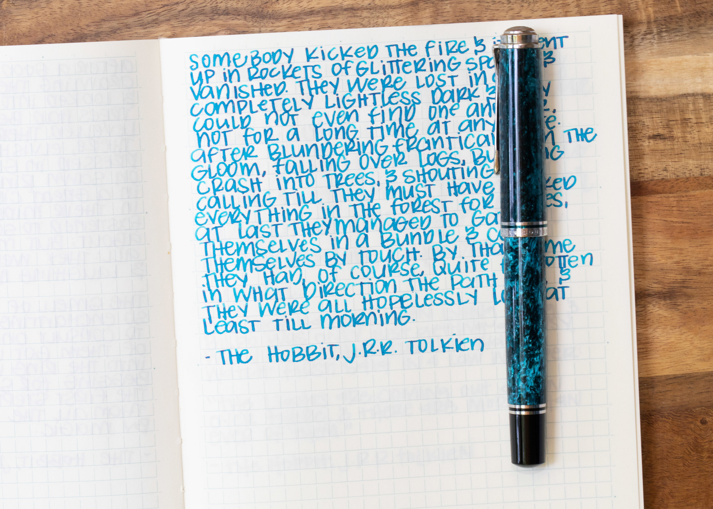 I used a broad Pelikan M805 Ocean Swirl on Midori MD paper. The ink had an average flow. I didn't have any issues with clogging, but I did rotate the pen after every paragraph to keep the shimmer in suspension.