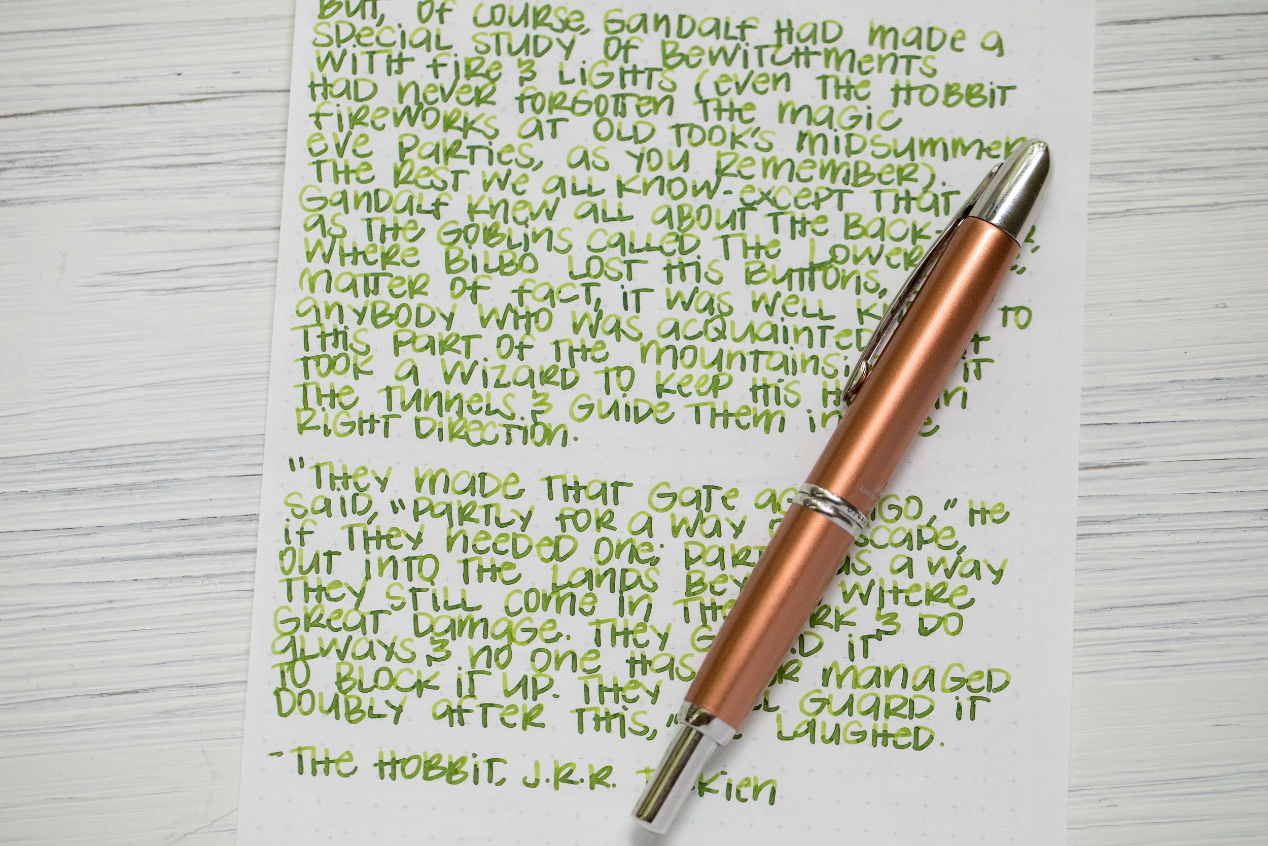 I used a broad Pilot Vanishing Point Copper LE filled with  Robert Oster Jade .