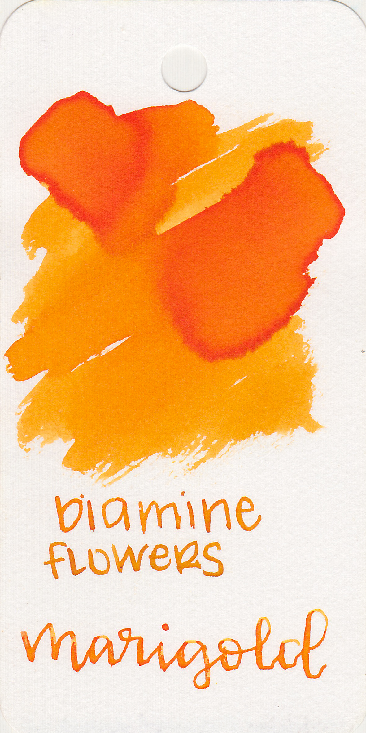 The color: - Marigold is a bright yellow-orange.