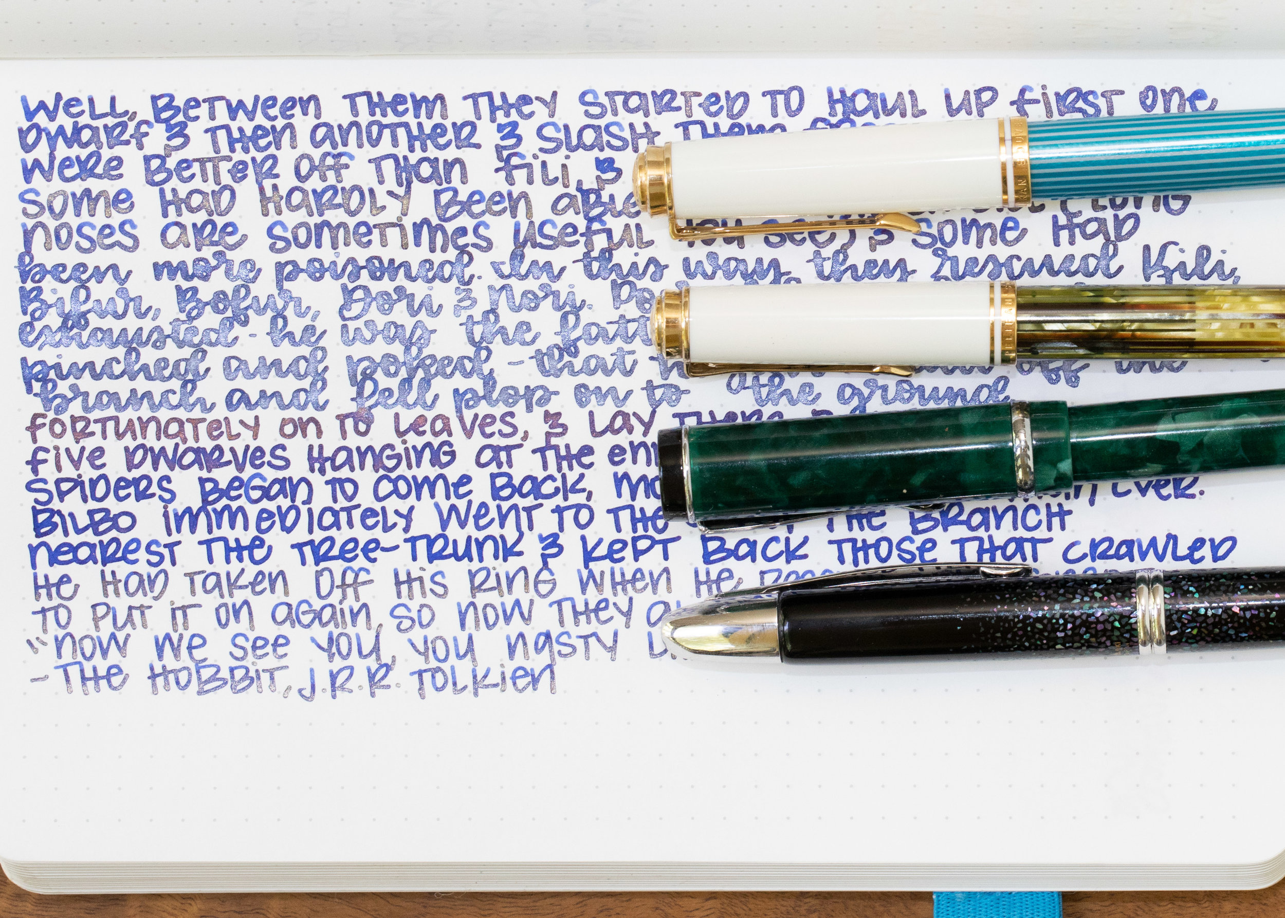 I used a broad Pelikan M600 Turquoise with the Gold version, a Pelikan M400 White Tortoise with a vintage 400N nib with the Silver version, a broad Conklin Durograph Forest Green for the Copper version, and a medium Pilot VP Galaxy for the Bronze version. I still think the Silver is my favorite of the four. All had some clogging issues, even with the wet flow. Each nib handled the shimmer a little differently. The Pelikan broad did little spurts of shimmer, the Pelikan 400N nib showed a pretty consistently heavy shimmer, the Conklin had shimmer for the first line, and then no more, and the Pilot medium had a consistent trickle of shimmer.