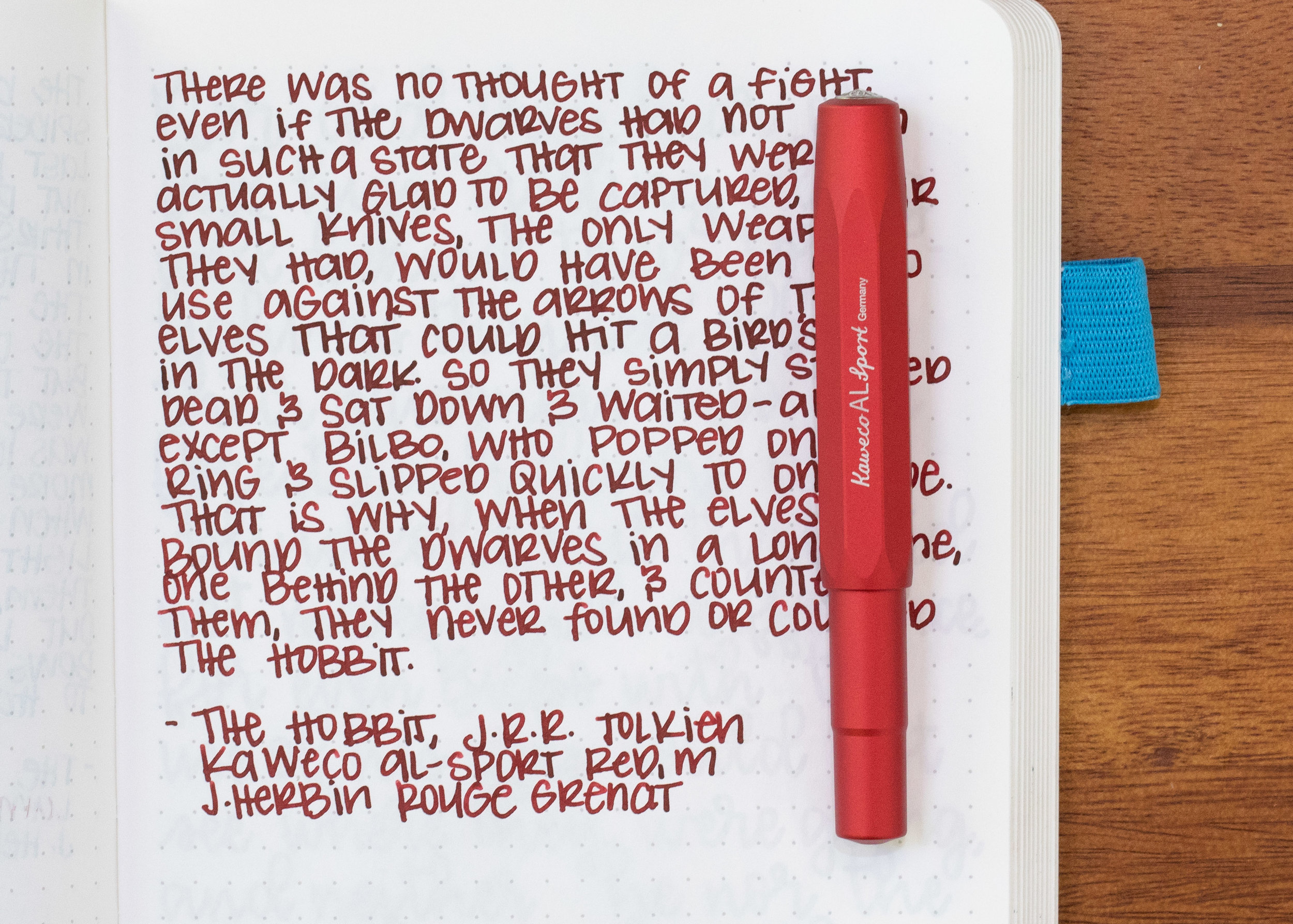I used a medium Kaweco Al-sport Red (I love this pen) on an ivory Hippo Noto Notebook. The ink had an average flow, but felt slightly watery to me.