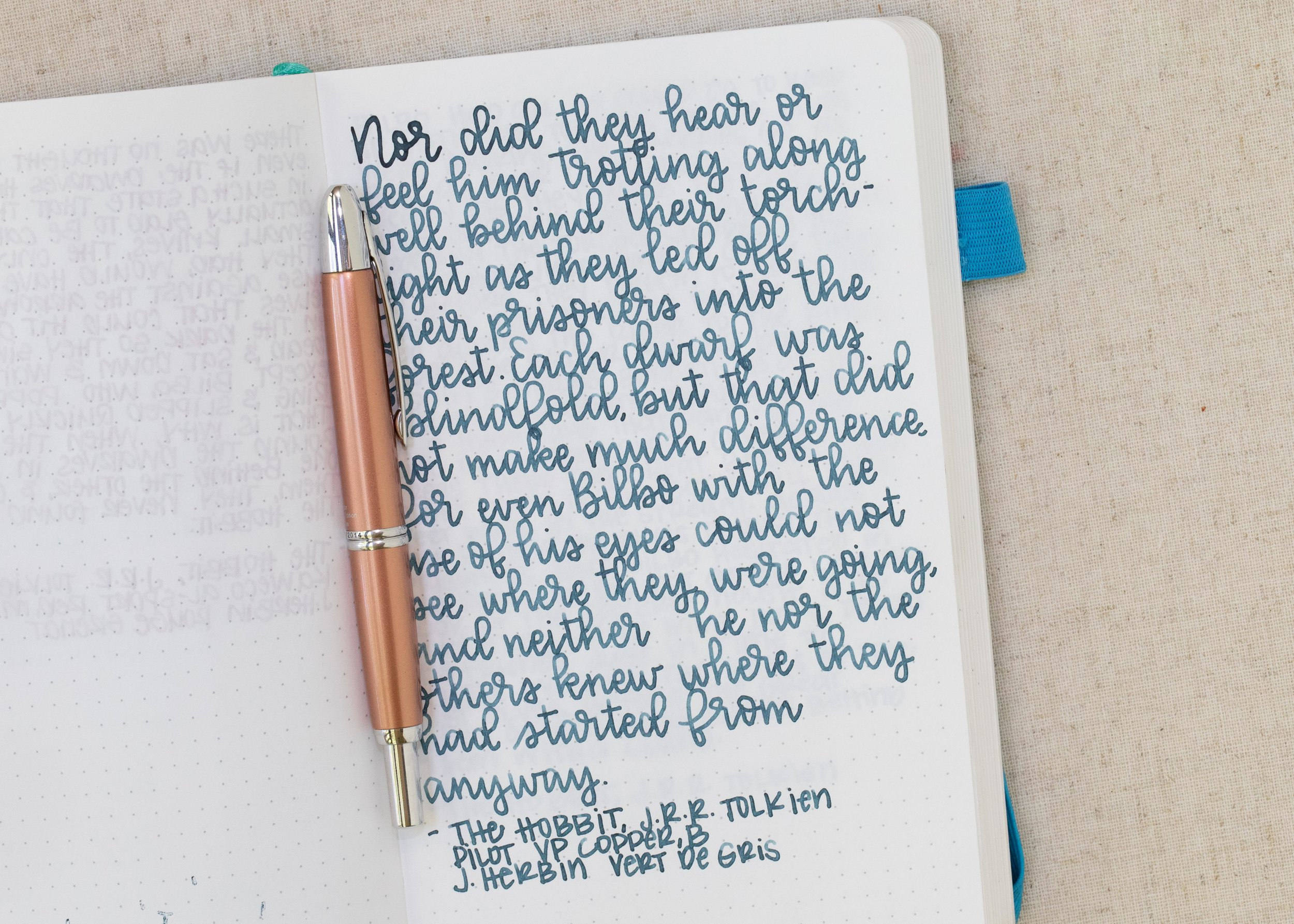 I used a broad Pilot Vanishing Point Copper LE on an ivory Hippo Noto Notebook. The ink had an average flow.