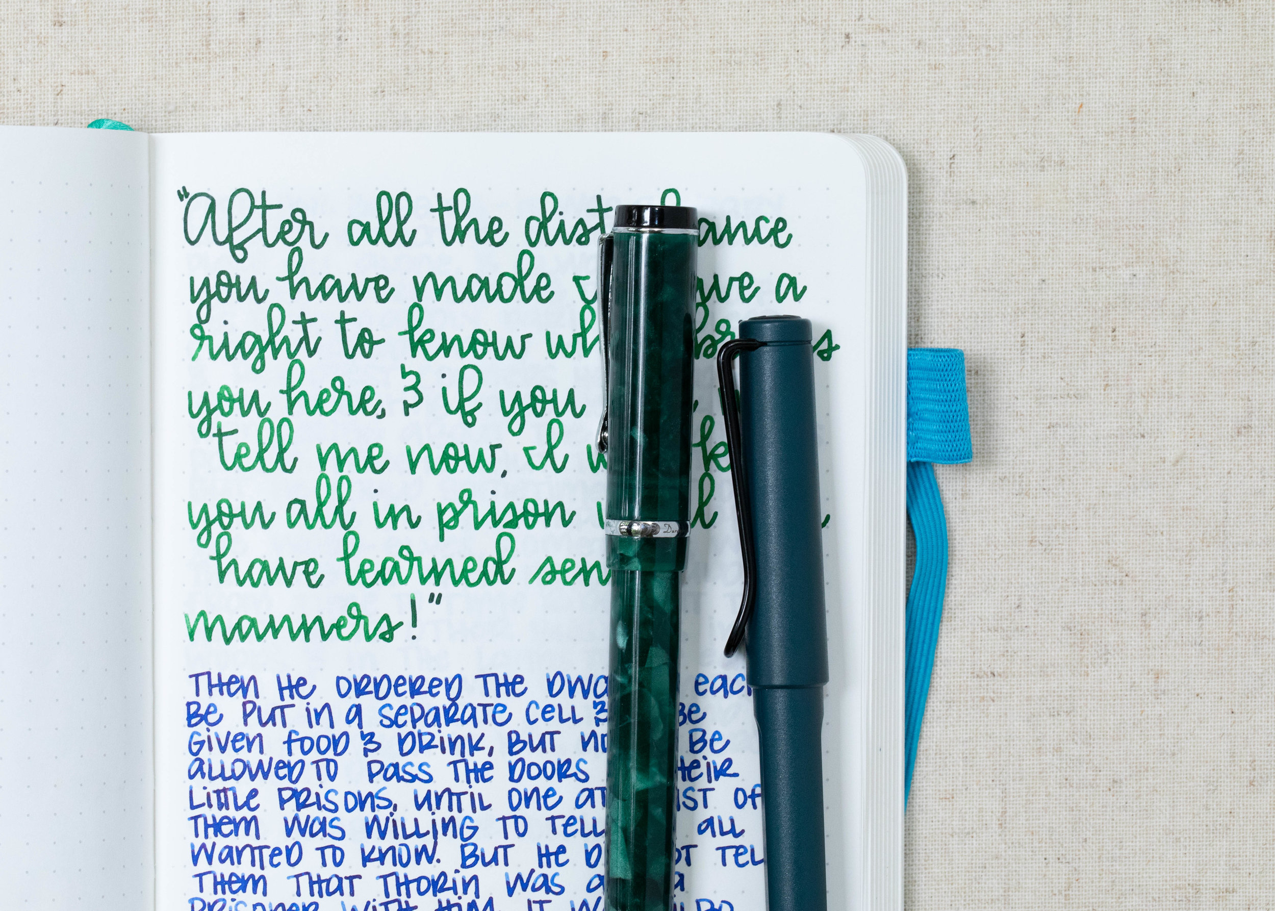 I used a broad Conklin Durograph Forest Green and a medium Lamy Safari Petrol on an ivory Hippo Noto Notebook. The inks had an average flow.