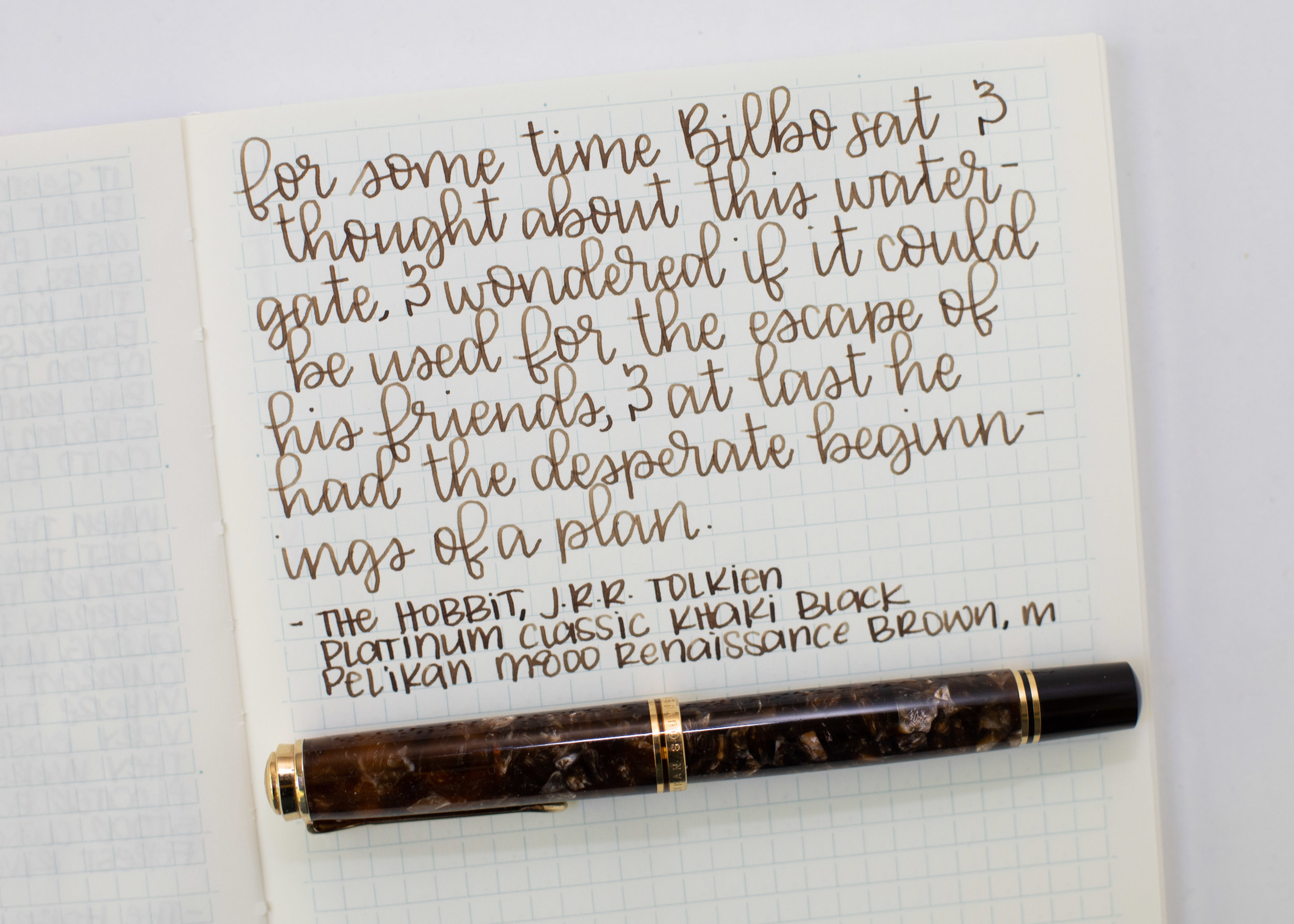 I used a medium Pelikan M800 Renaissance Brown on a Midori MD notebook. The ink had a dry flow.