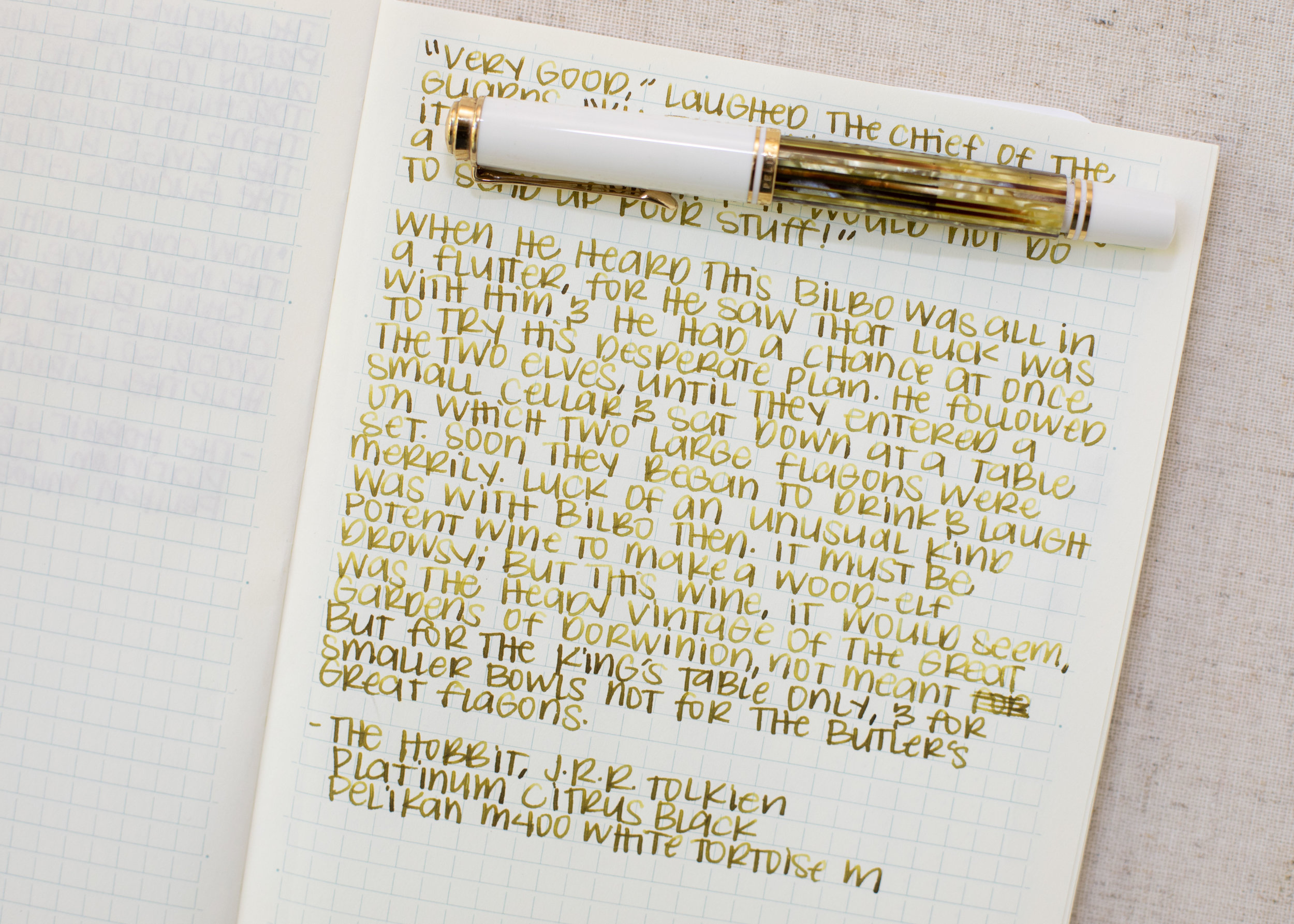 I used a medium Pelikan M400 White Tortoise on a Midori MD notebook. The ink had a dry flow.