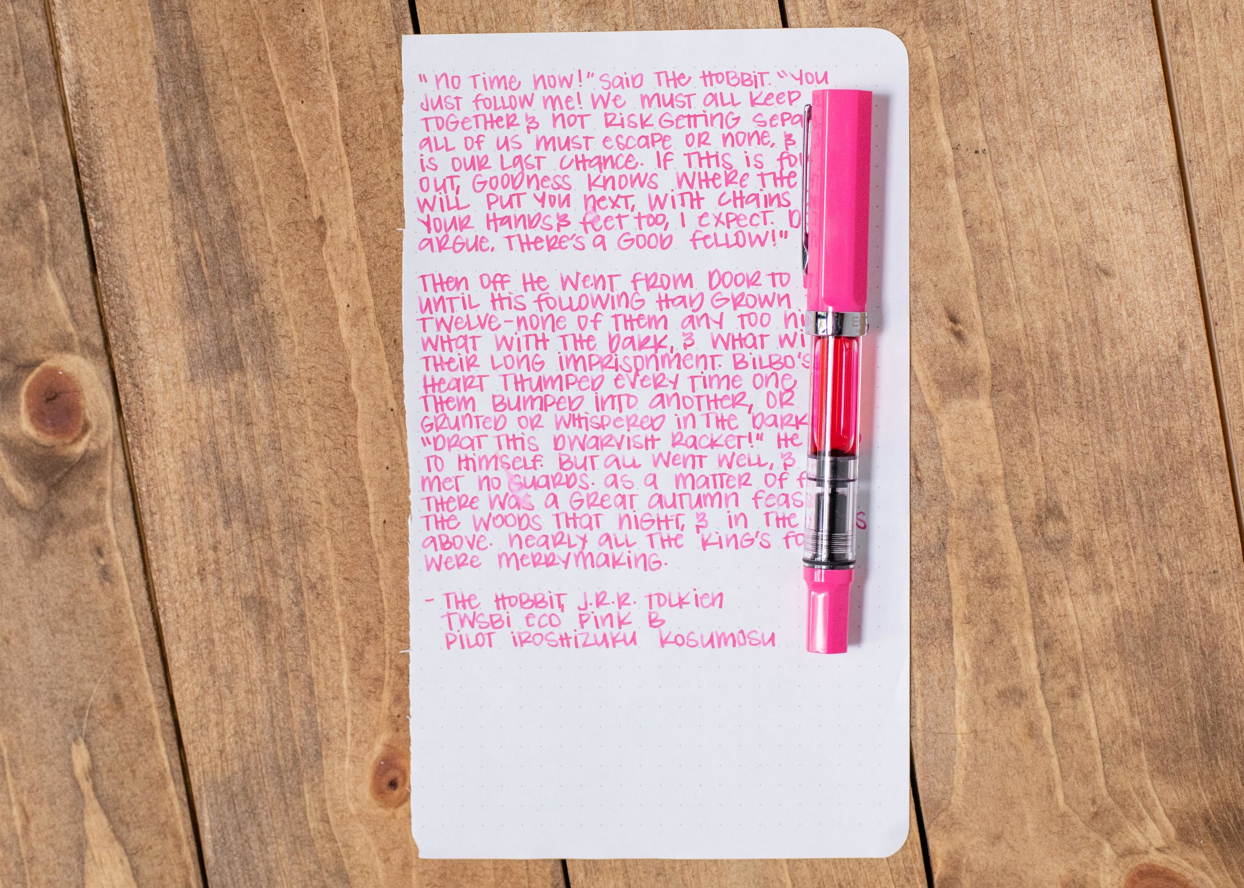 I used a broad Twsbi Eco Pink on Tomoe River 68. The ink had a wet flow. This ink matches the pen really well.