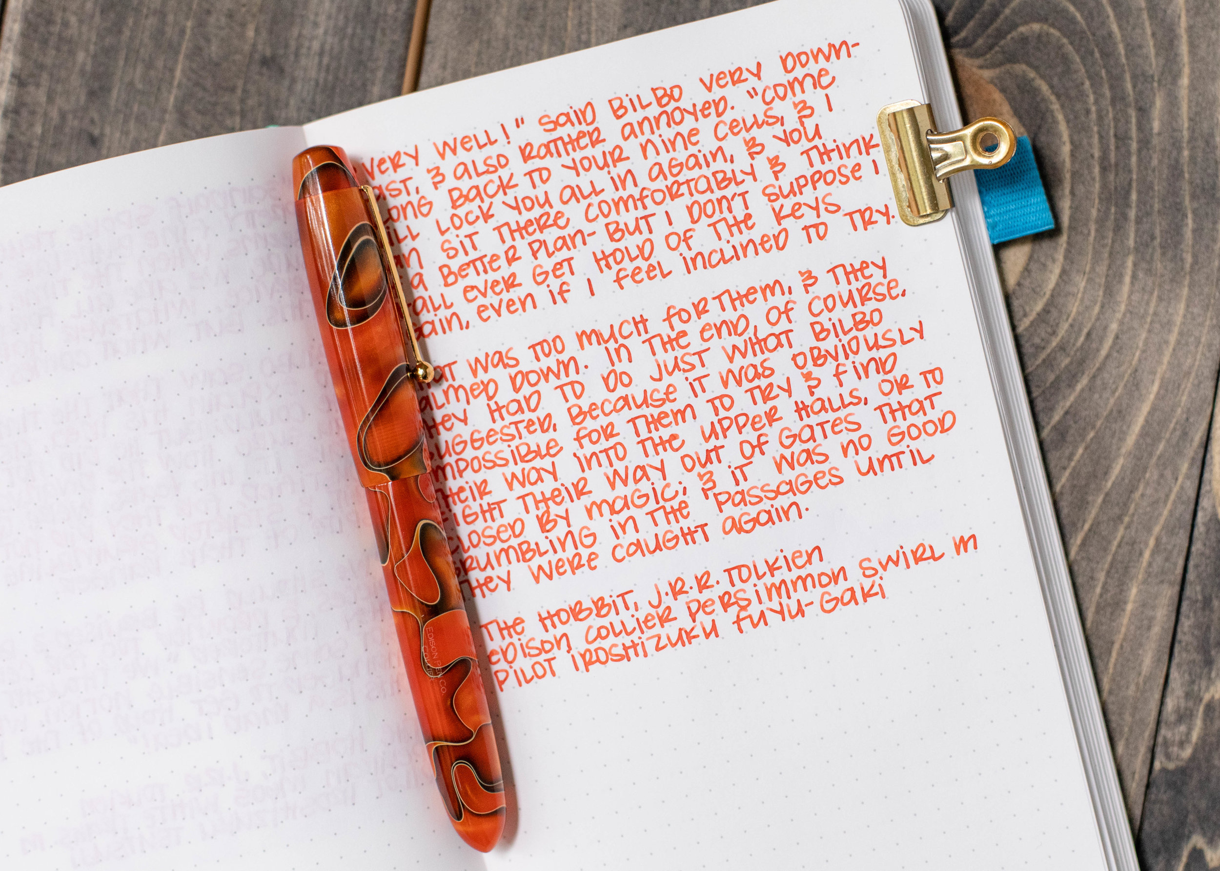 I used a medium Edison Collier Persimmon Swirl on Tomoe River 68. The ink had a wet flow. This ink matches the pen really well, great match for fall.