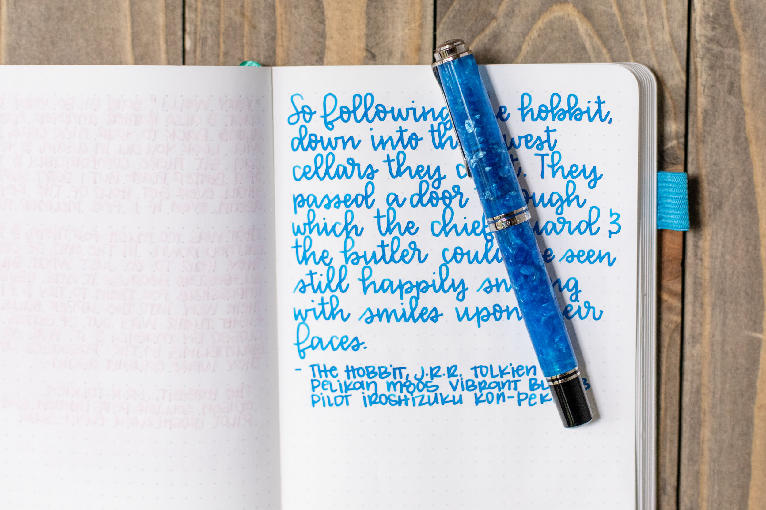 I used a broad Pelikan M805 Vibrant Blue on Tomoe River 68. The ink had a wet flow. This ink matches the pen really well.