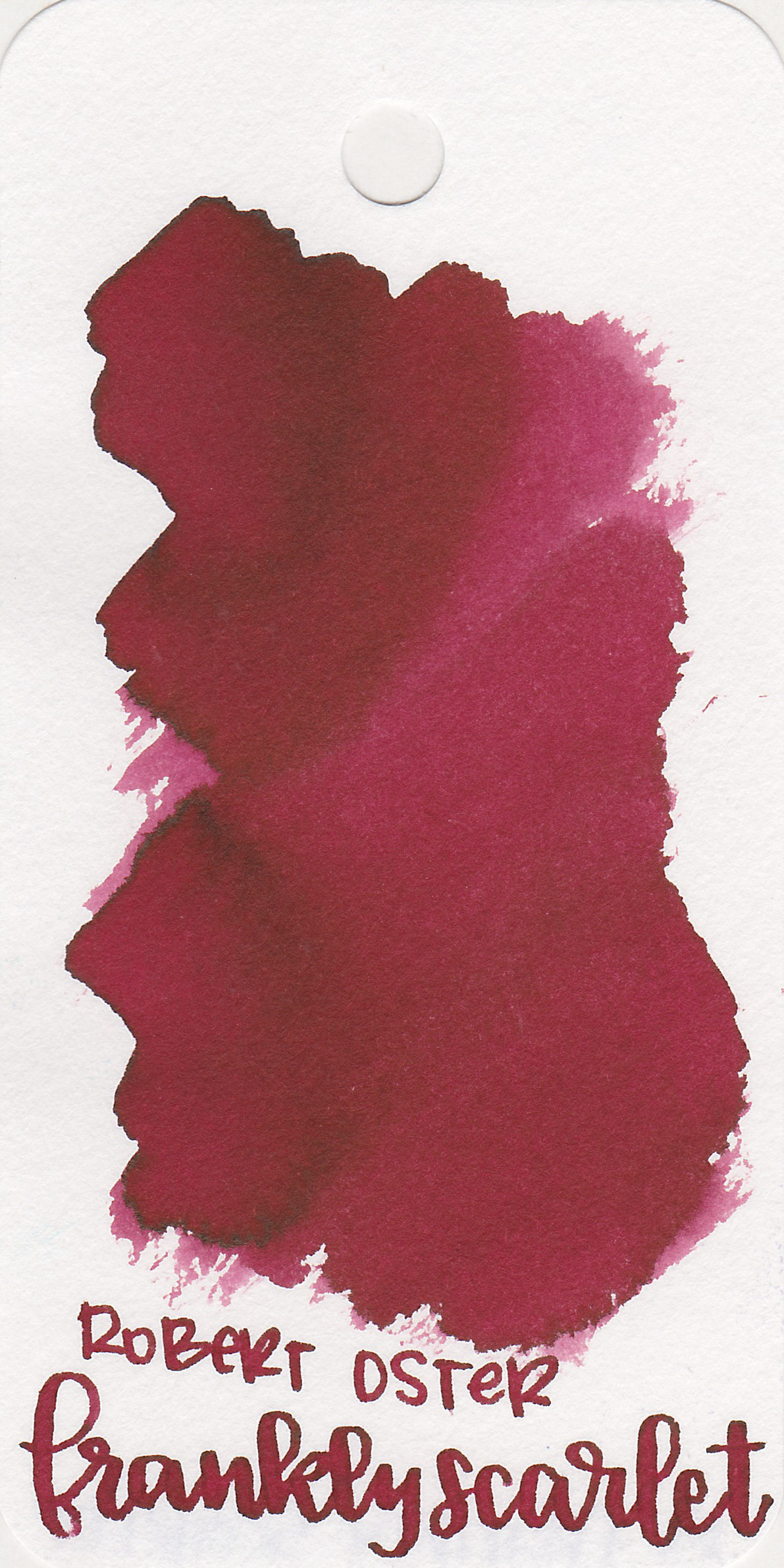 The color: - Frankly Scarlet is an unsaturated dark red.