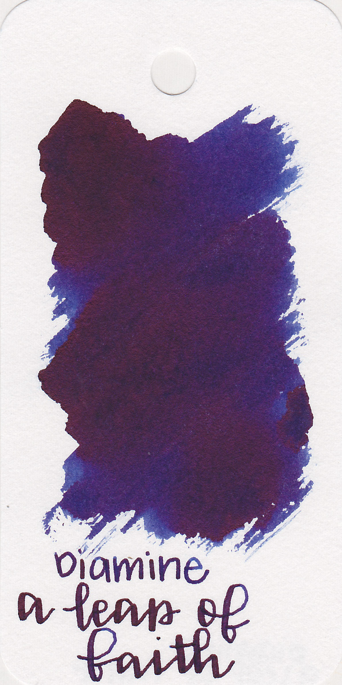 The color: - A Leap of Faith is a dark bluish-purple with dark red sheen.