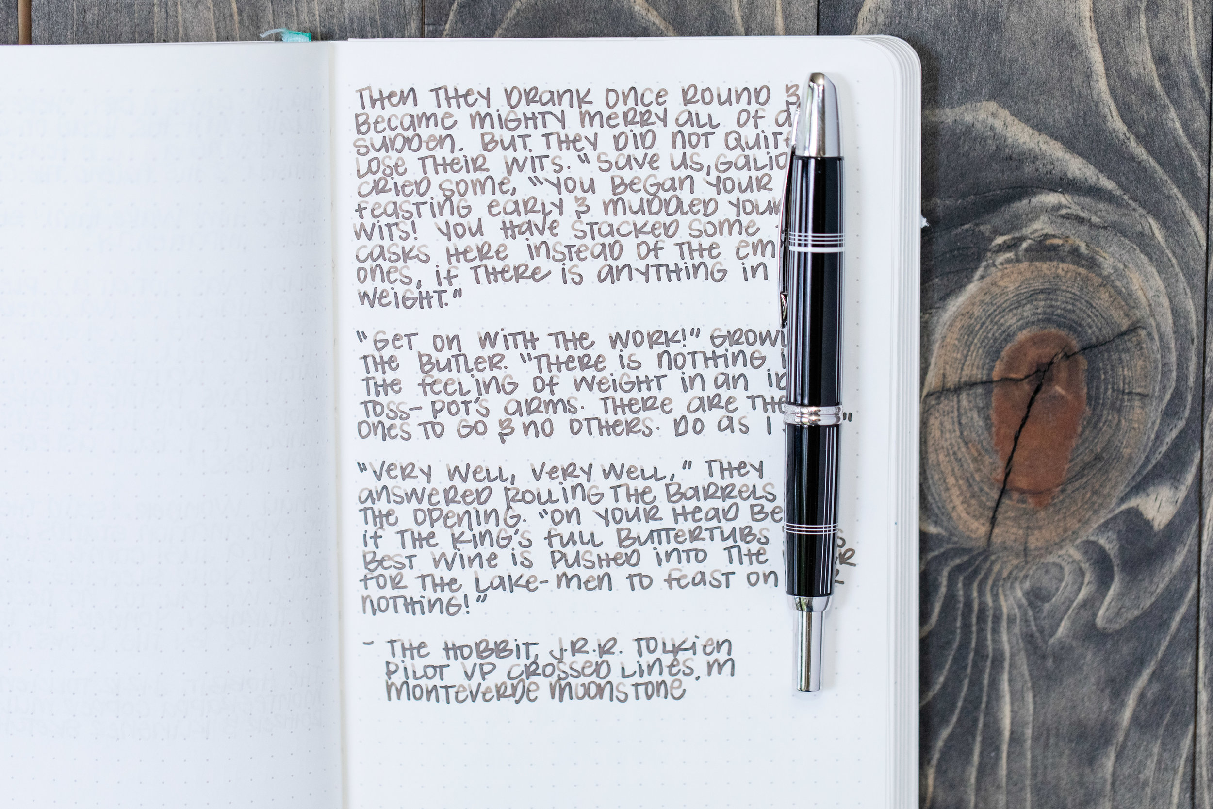 I used a medium Pilot Vanishing Point Crossed Links on an ivory Hippo Noto Notebook. The ink had a wet flow.