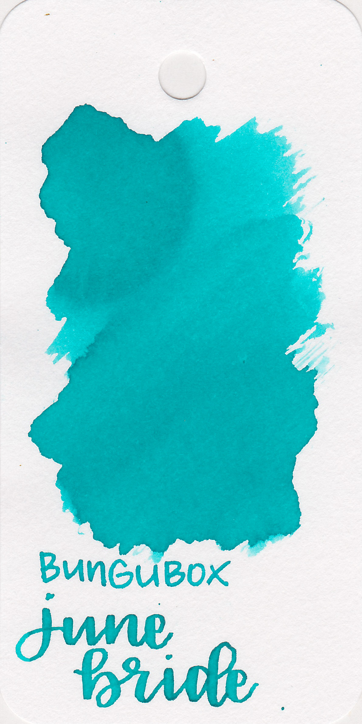 The color: - June Bride is a beautiful turquoise blue.