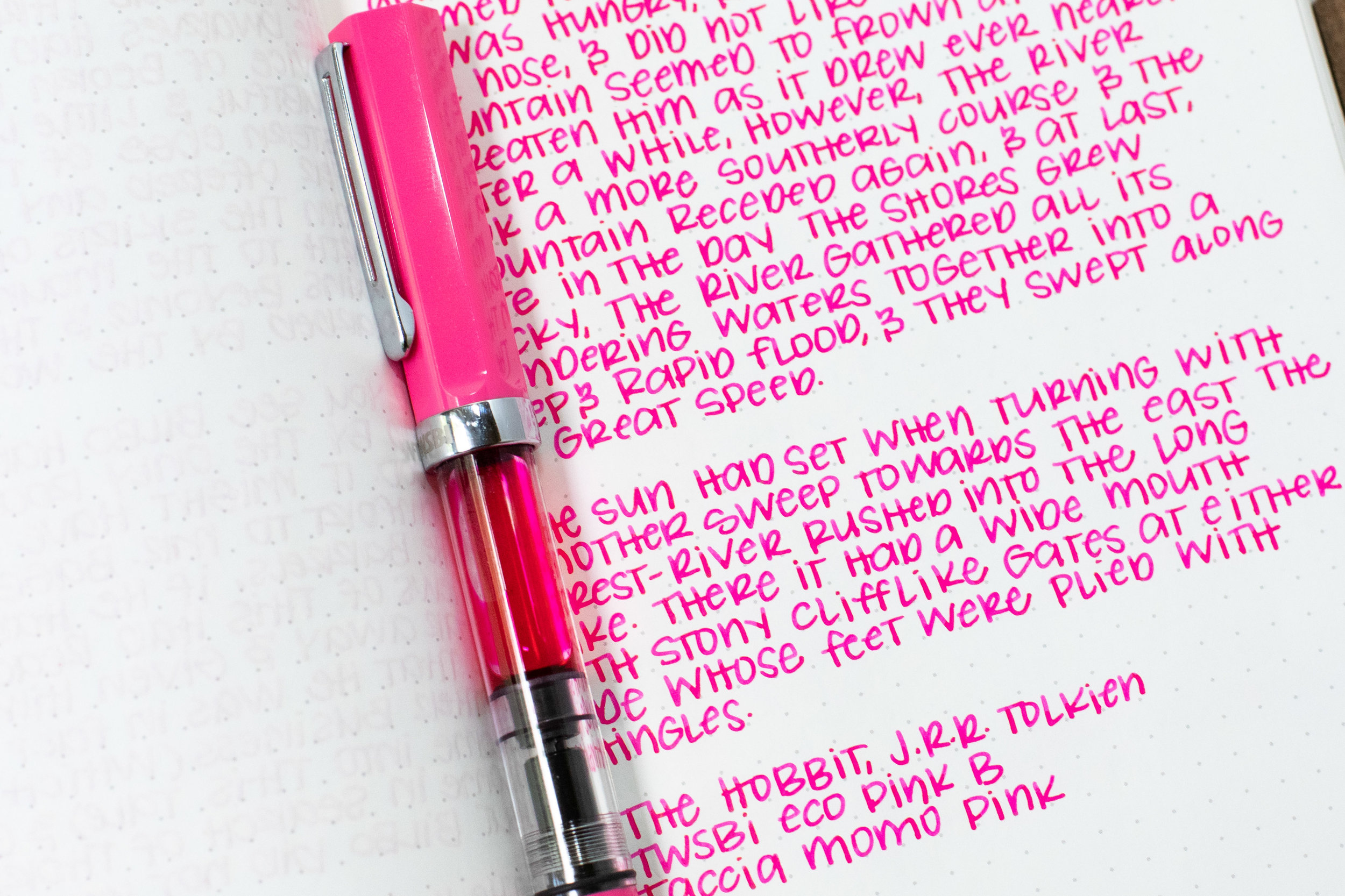I used a broad Twsbi Eco Pink on Tomoe River 68gsm. The ink had a wet flow.