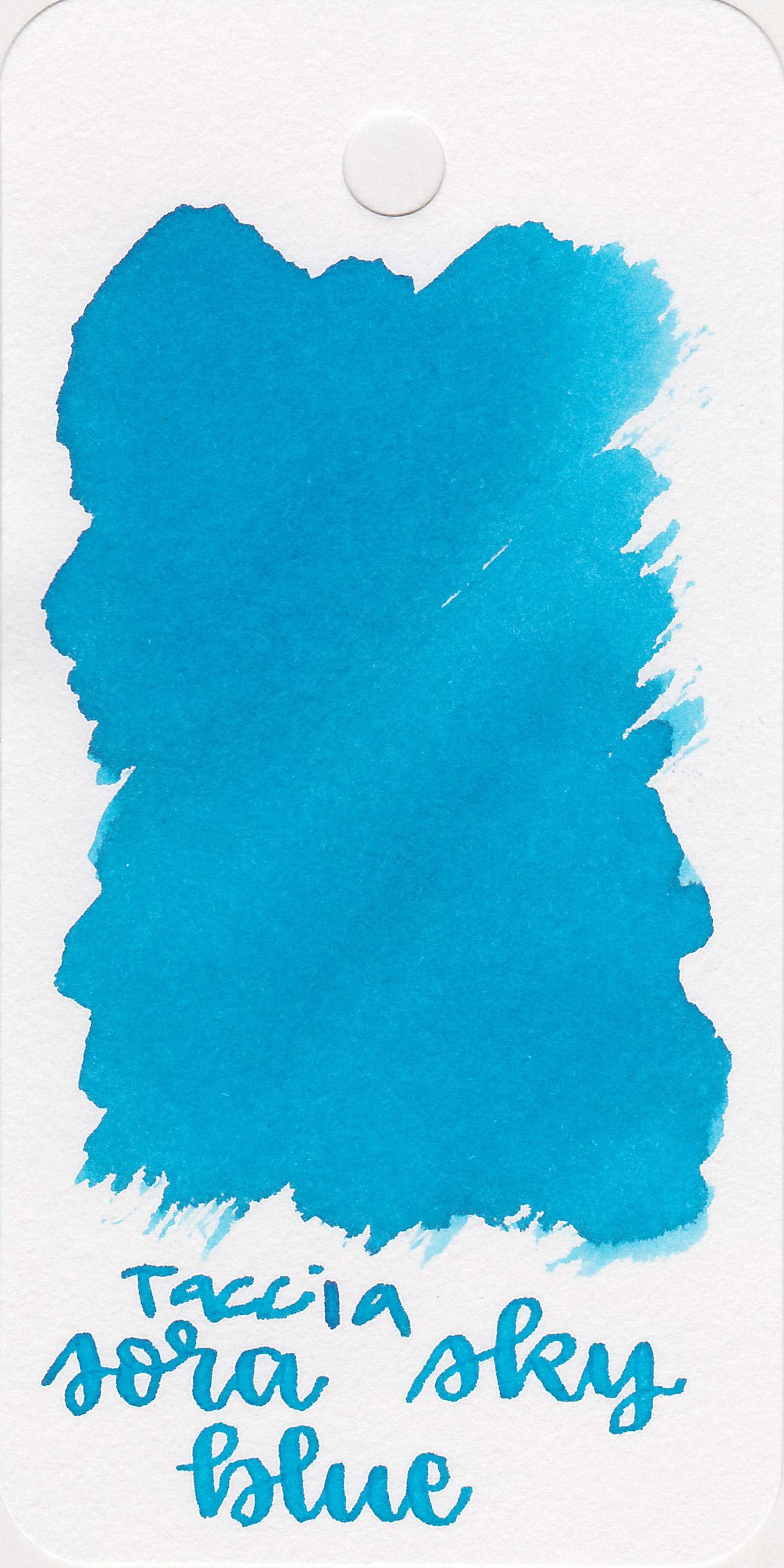 The color: - Sora Sky Blue is a bright light blue.
