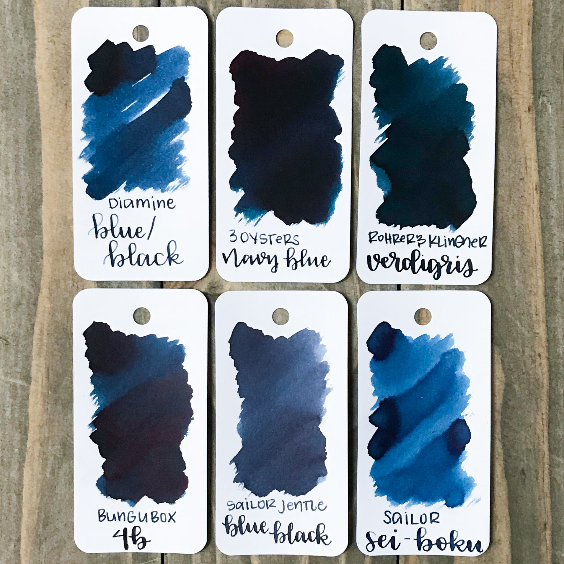 Similar inks: - Navy Blue is closest to Verdigris and 4B.