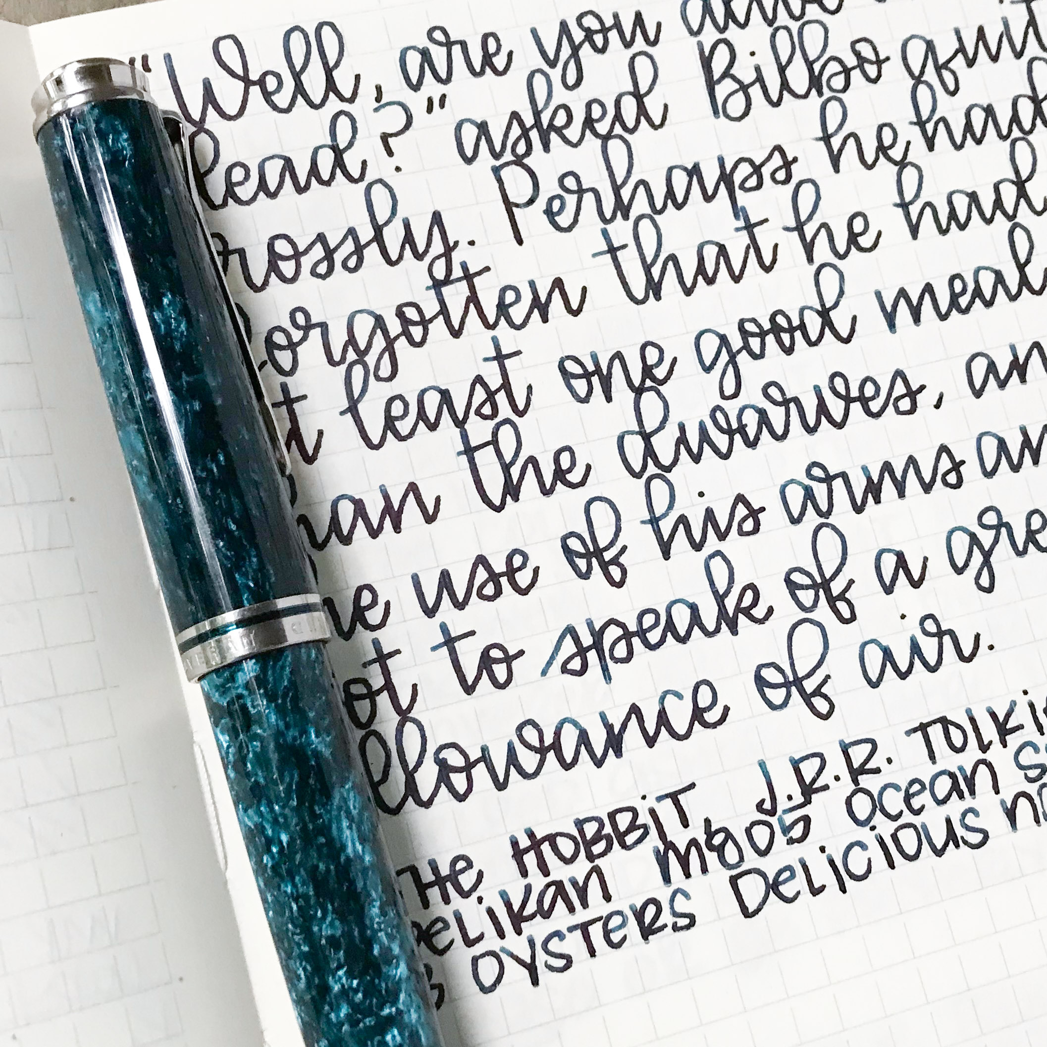 I used a broad Pelikan M805 Ocean Swirl on a Midori MD Notebook. The ink had a dry flow. The ink had skipping, hard starts, and railroading.