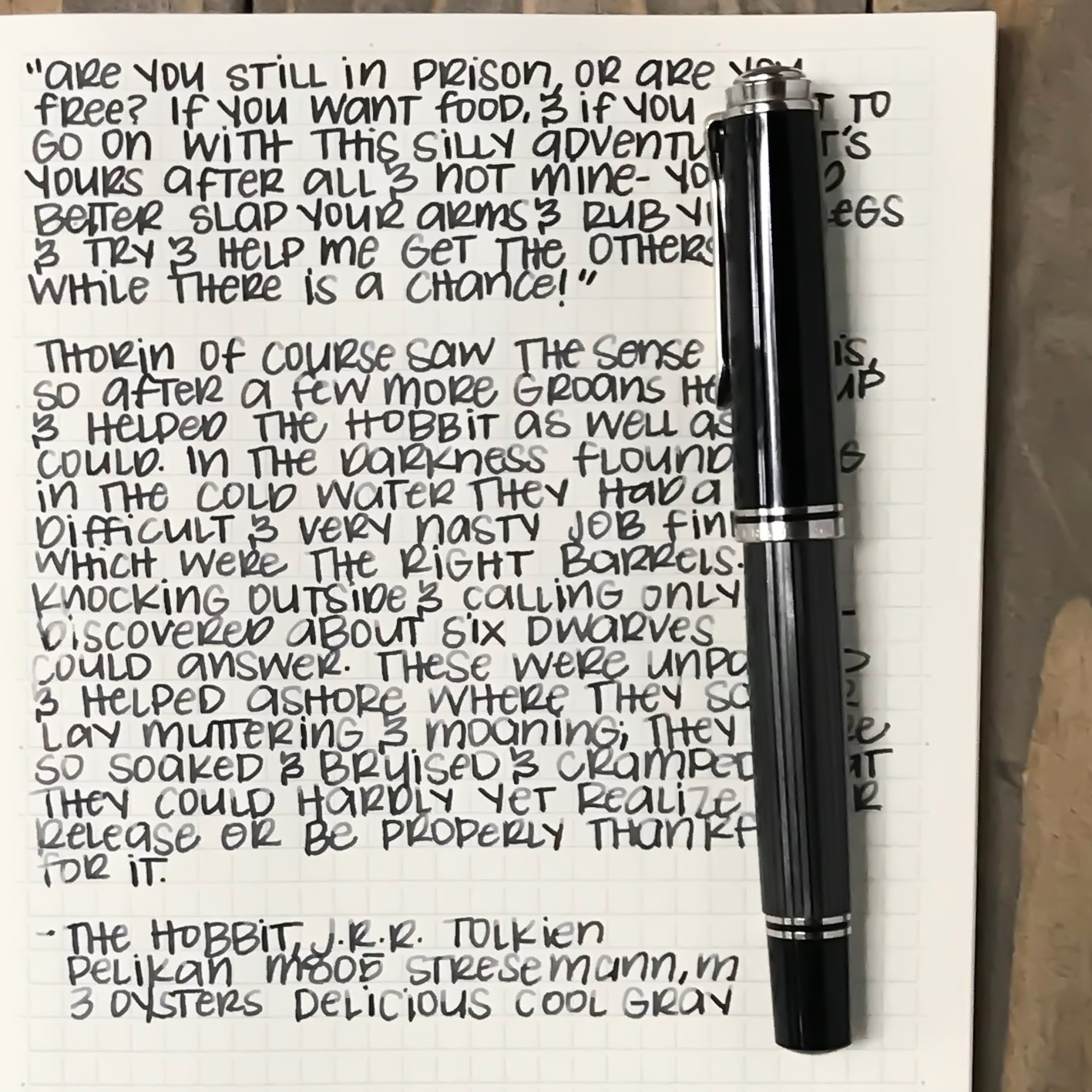 I used a medium Pelikan M805 Stresemann on a Midori MD Notebook. The ink had a slightly dry flow.