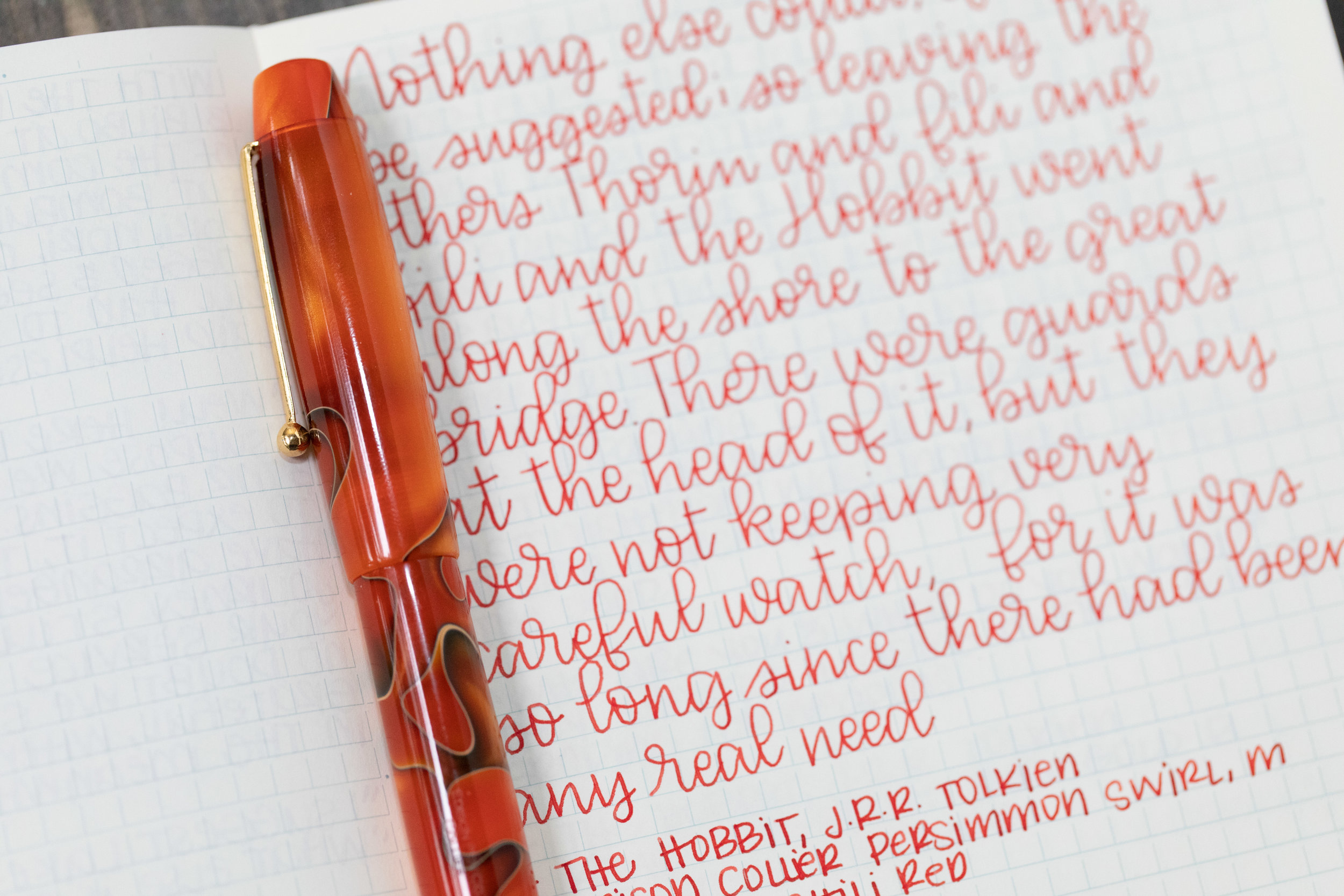 I used a medium Edison Collier Persimmon Swirl on a Midori MD Notebook. The ink had a dry flow, but did not have any skipping issues in this pen.