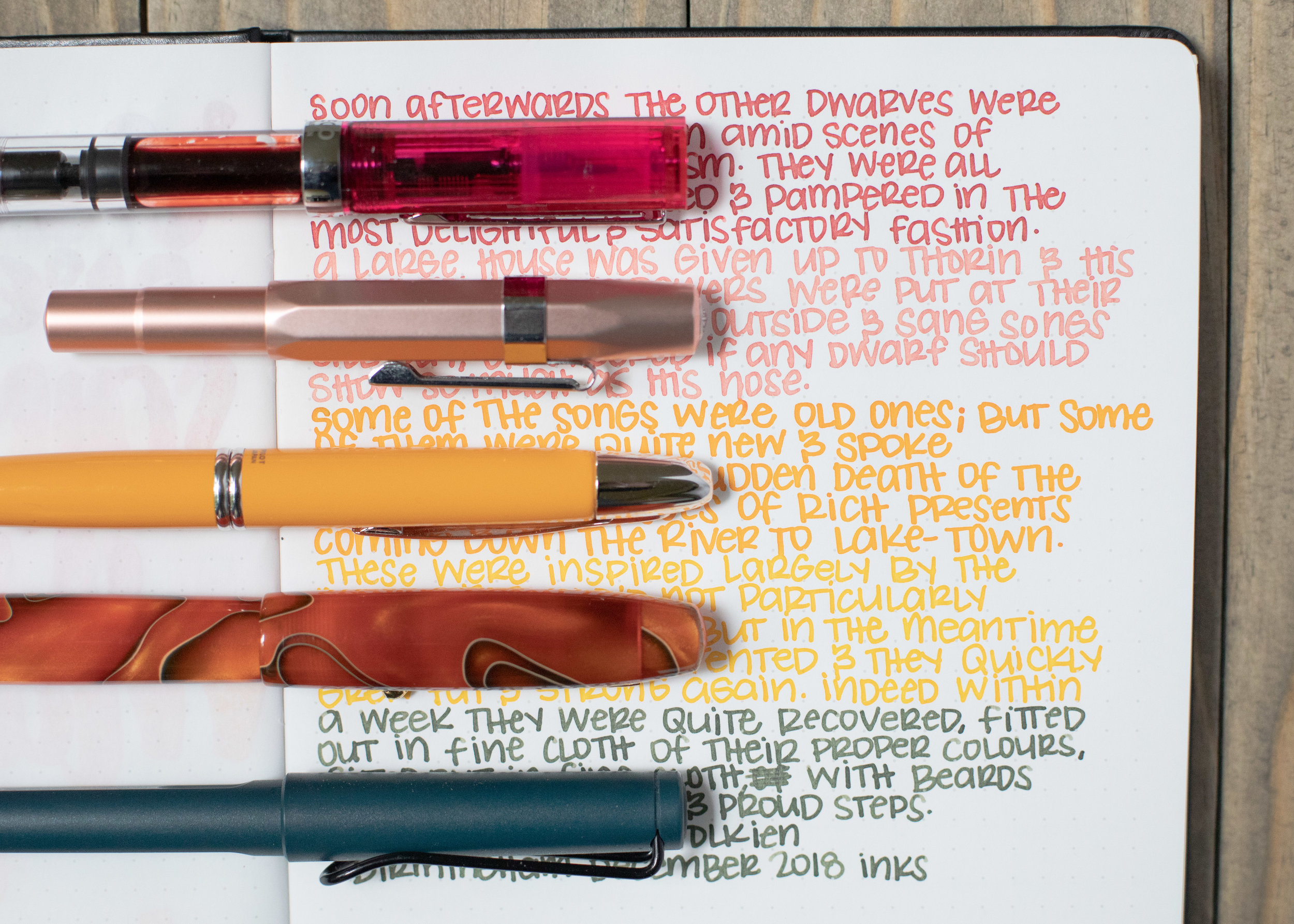 I used a Bond A5 (Tomoe River 68gsm). Top to bottom, I used: TWSBI Eco Blossom Red with a medium nib, Kaweco Al-sport Rose Gold with a broad nib, Pilot Vanishing Point Yellow with a medium nib, Edison Collier Persimmon Swirl with a medium nib, and Lamy Safari with a medium nib. All of the inks had an average flow.