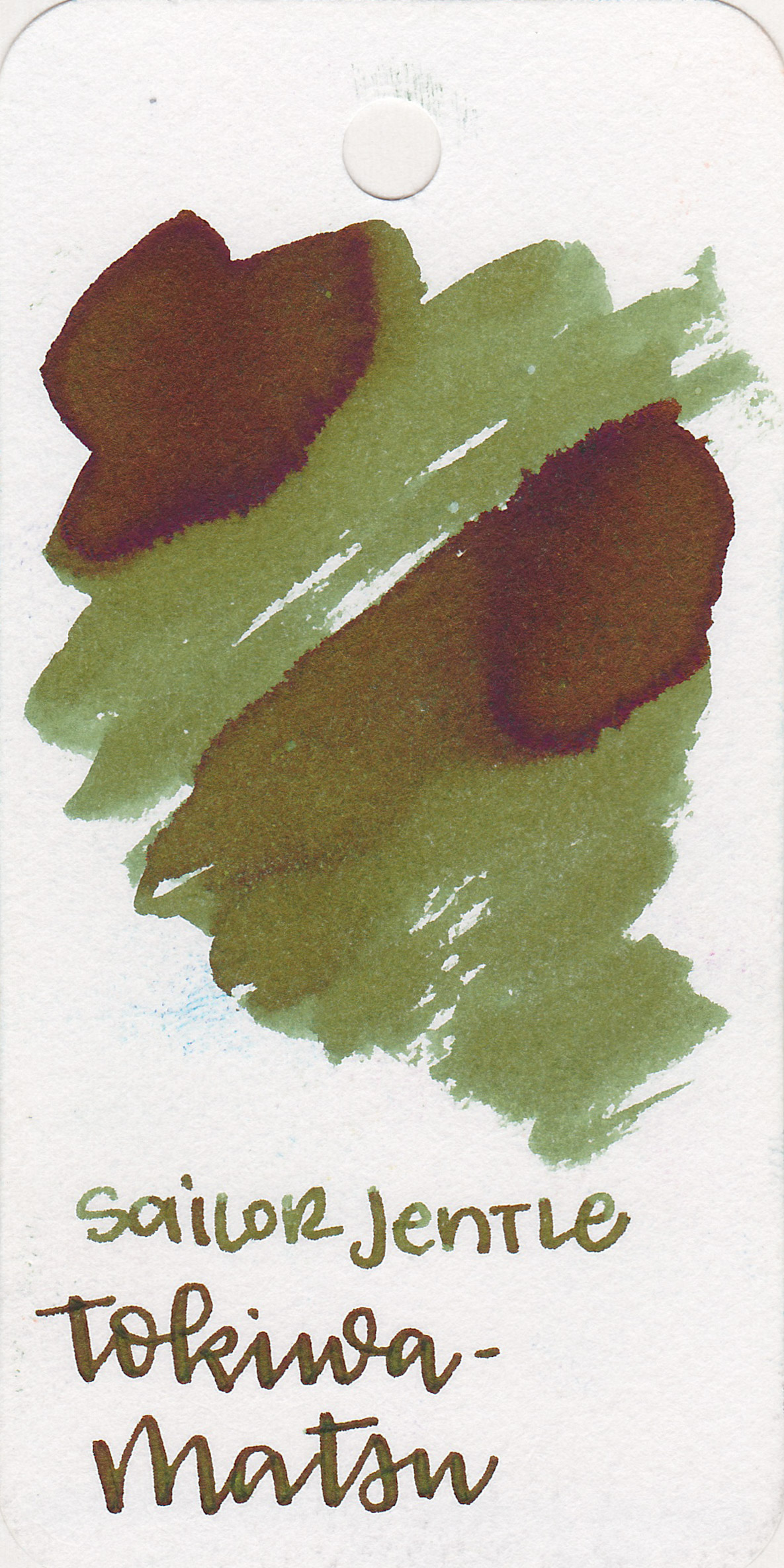 The color: - Tokiwa-matsu is a medium olive green.